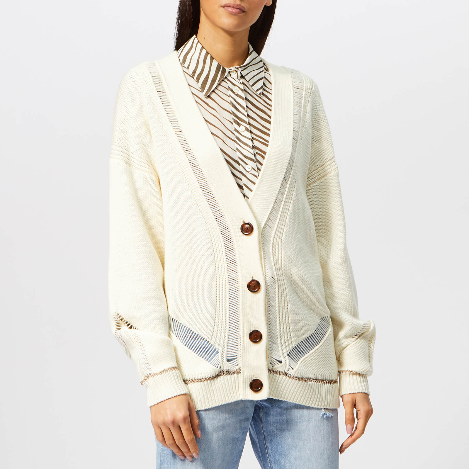22ea41cf See By Chloé Women's Ladder Stitch Knit Cardigan - Crystal White