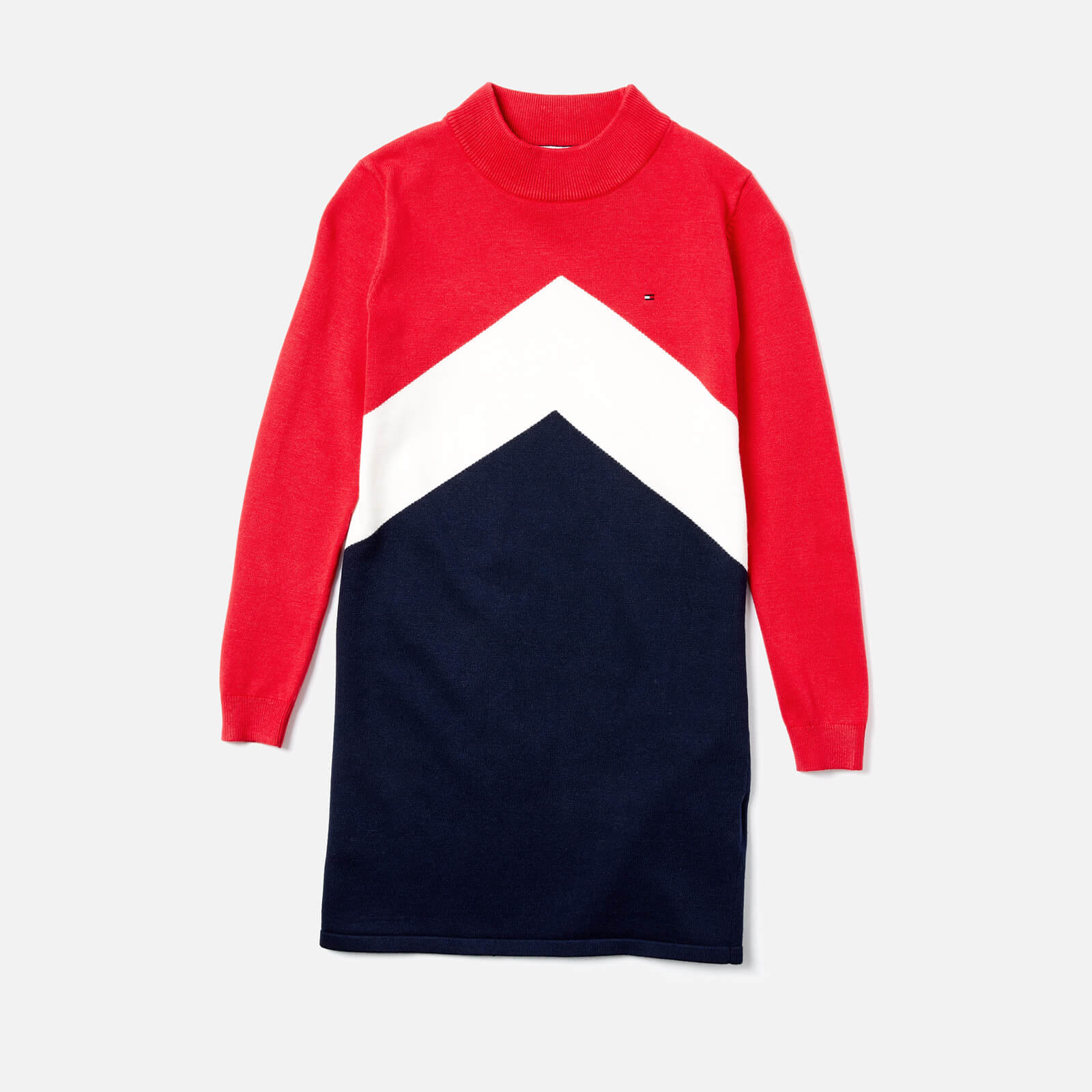 f0f4b08784a Tommy Hilfiger Girls  Chevron Block Sweater Dress - True Red Multi Clothing