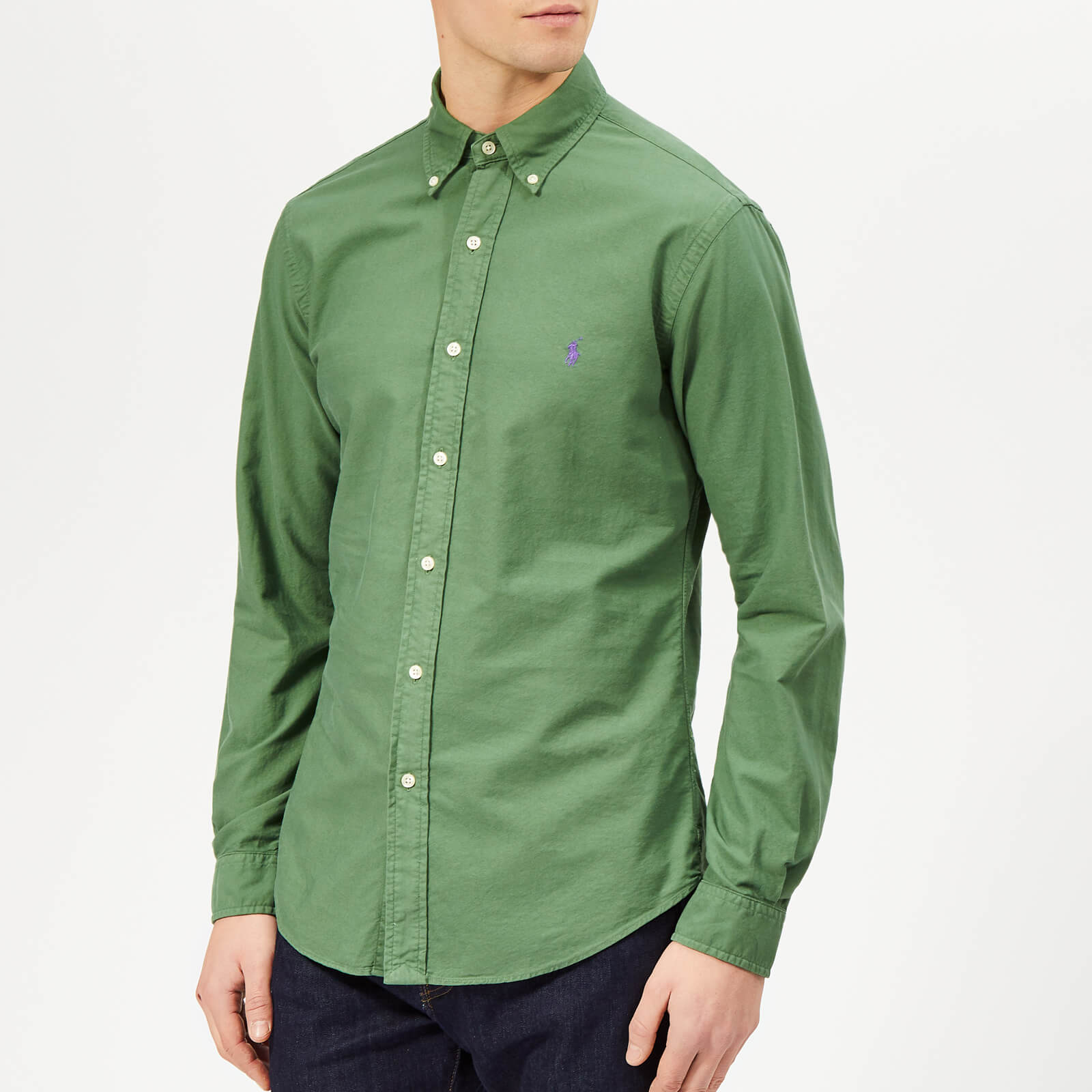 2f2f83de6c514 Polo Ralph Lauren Men's Garment Dyed Oxford Long Sleeve Shirt - Stuart  Green - Free UK Delivery over £50