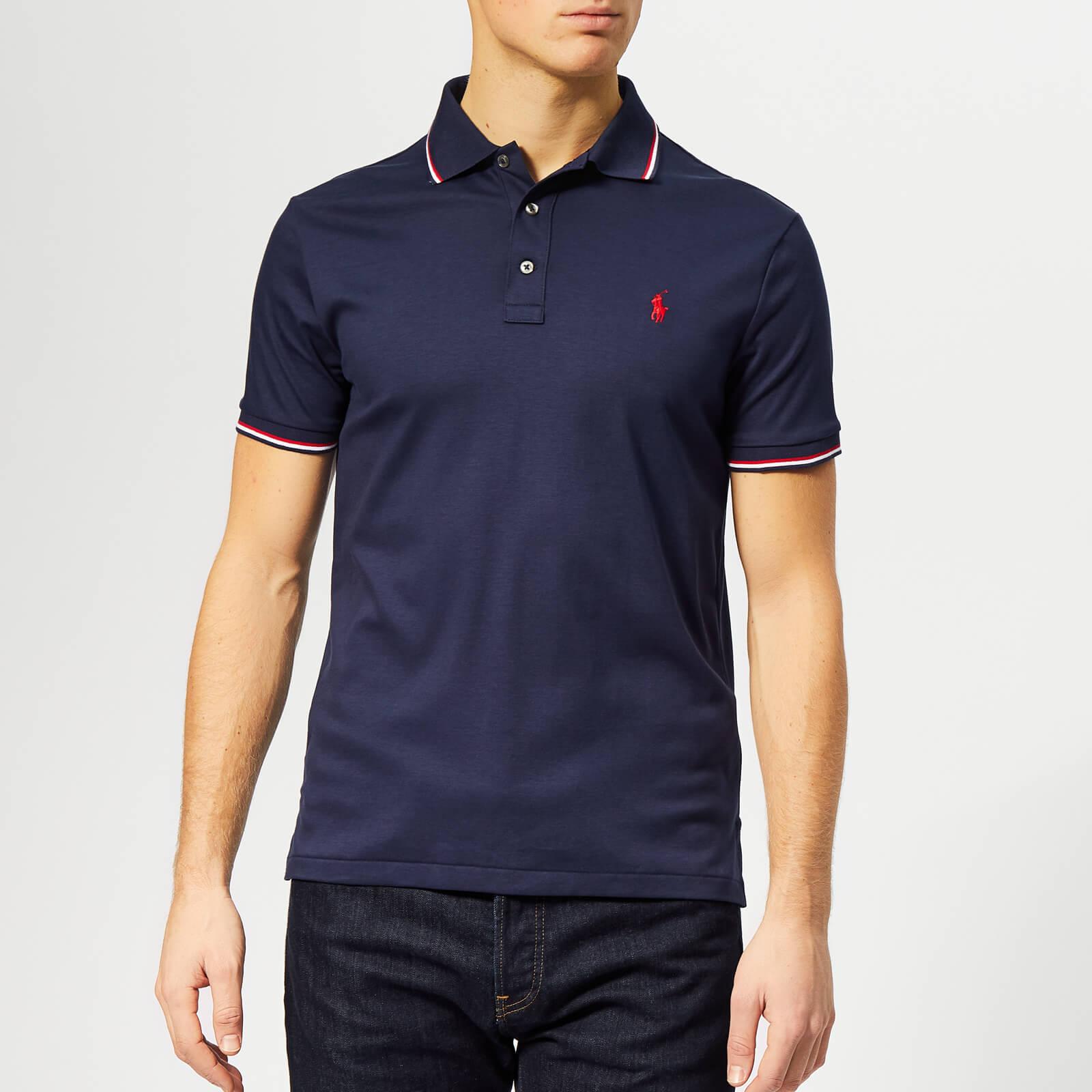 on sale e83ef 08bc7 Polo Ralph Lauren Men's Stripe Tipped Pima Polo Shirt - French Navy