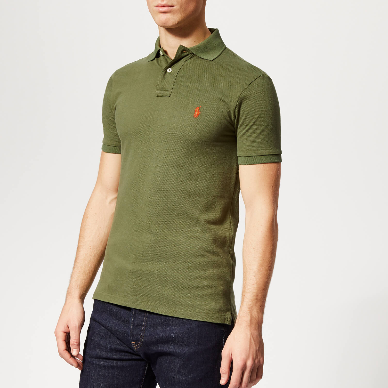 357268653 Polo Ralph Lauren Men's Slim Fit Mesh Polo Shirt - Supply Olive - Free UK  Delivery over £50