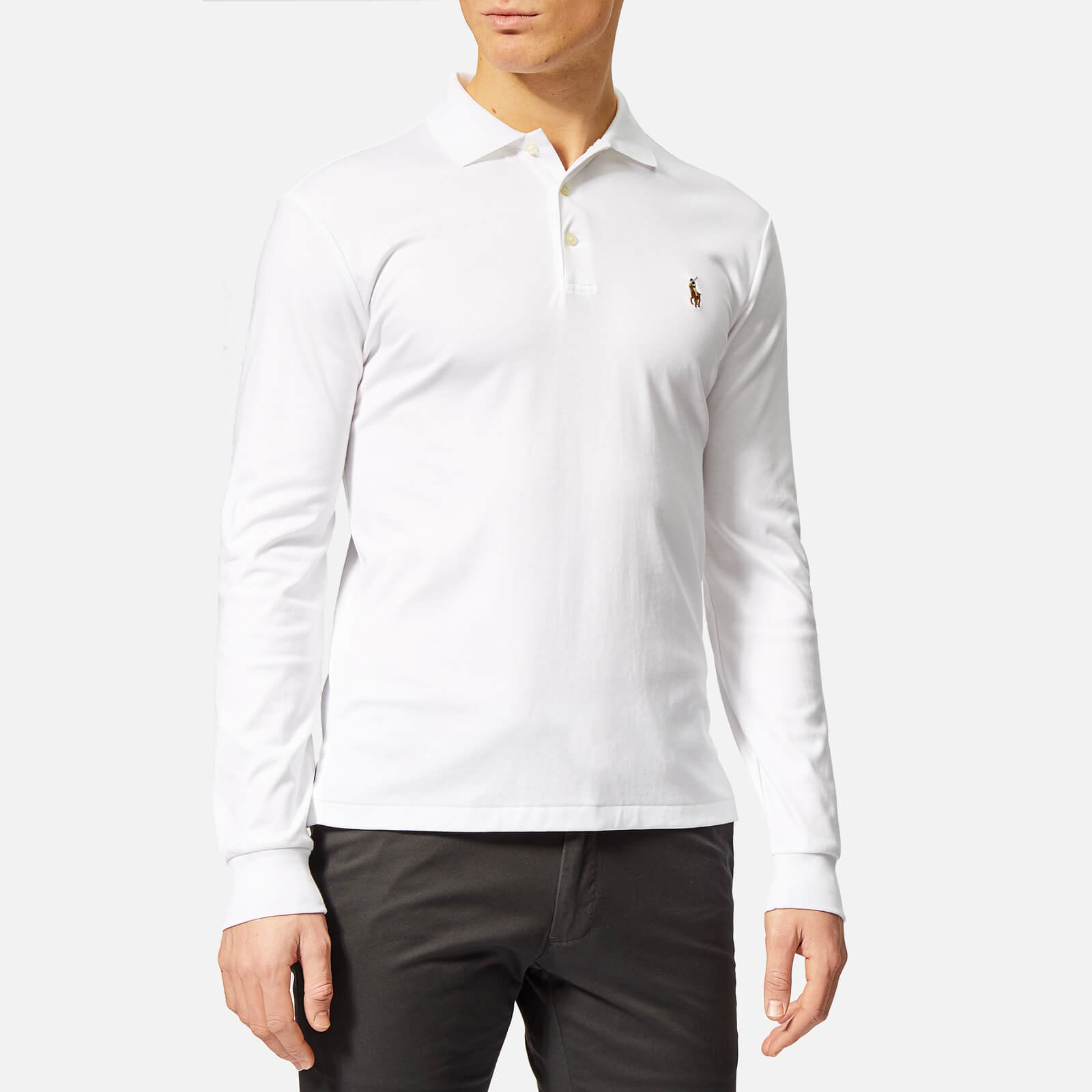 3e938514 Polo Ralph Lauren Men's Slim Fit Long Sleeve Pima Polo Shirt - White - Free  UK Delivery over £50