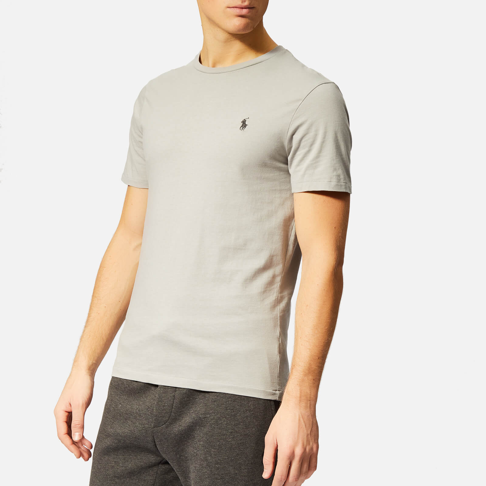 da111995 Polo Ralph Lauren Men's Custom Slim Fit Crew Neck T-Shirt - Soft Grey -  Free UK Delivery over £50