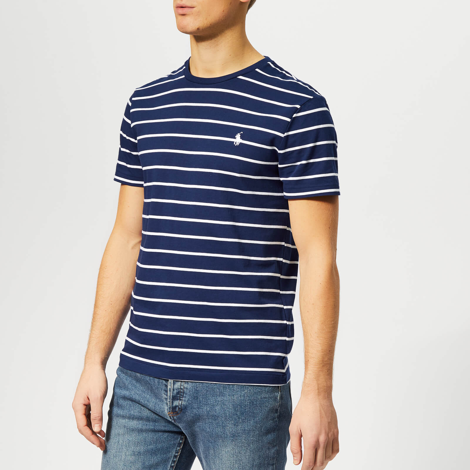 9f418459 Polo Ralph Lauren Men's Custom Slim Fit Stripe Short Sleeve T-Shirt -  Holiday Navy - Free UK Delivery over £50