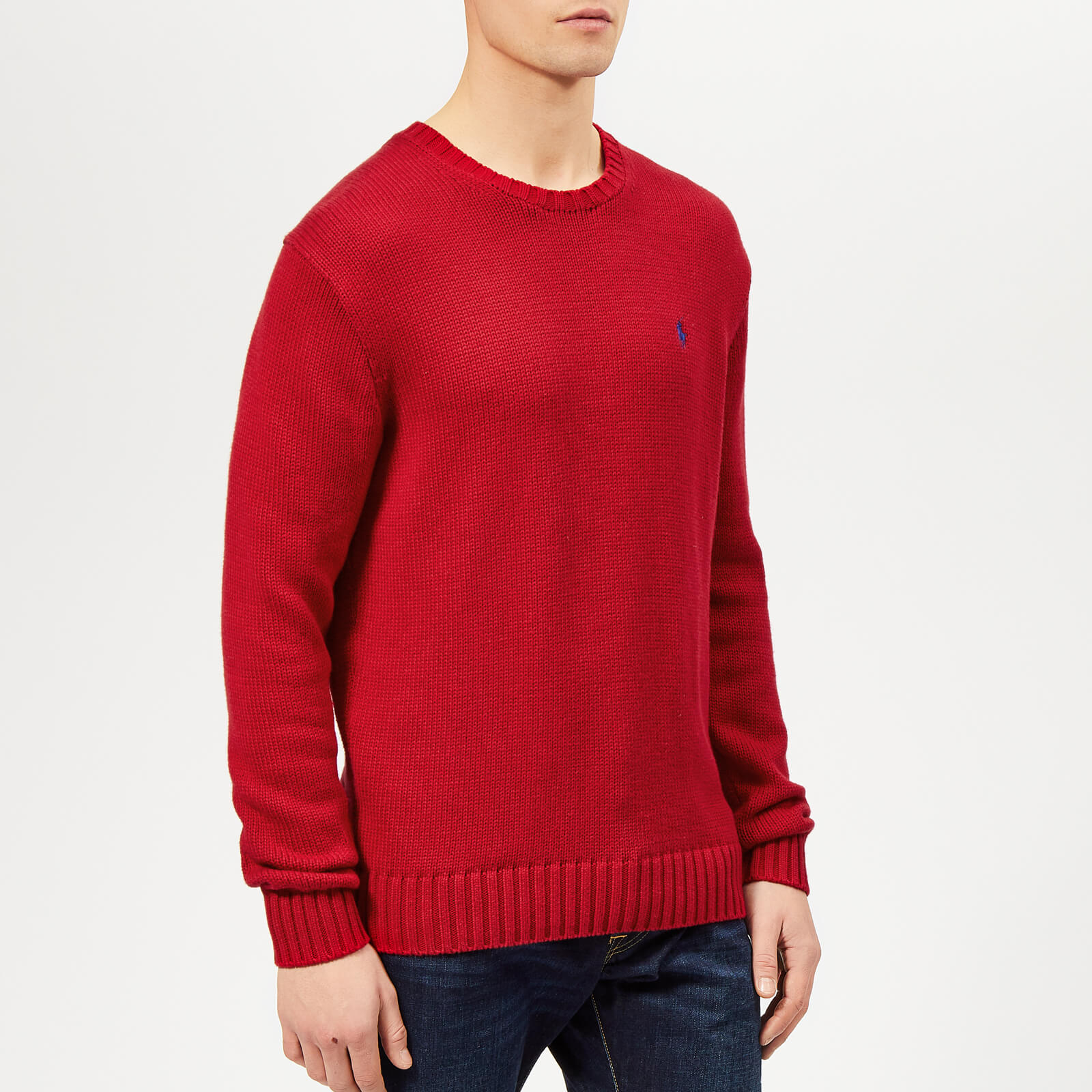 a122bf7c1 Polo Ralph Lauren Men s Crew Neck Knitted Jumper - Samba Red - Free UK  Delivery over £50