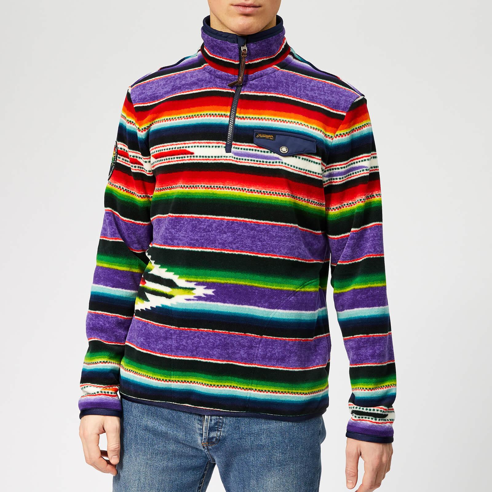 ankommen Turnschuhe beste website Polo Ralph Lauren Men's Sportsman Funnel Neck Fleece Sweatshirt - Purple  Serape Multi