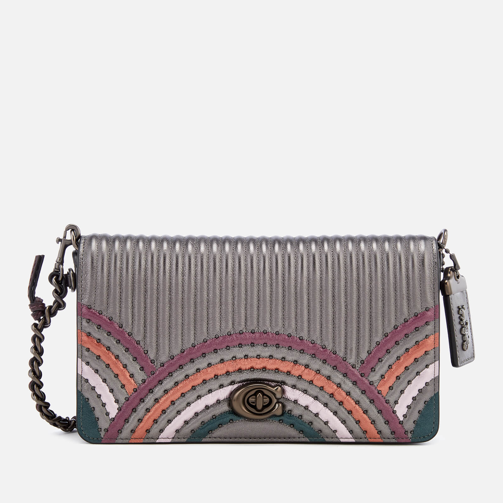 Mon Coach Deco coach women's dinky bag with colorblock deco quilting and rivets - metallic  graphite multi