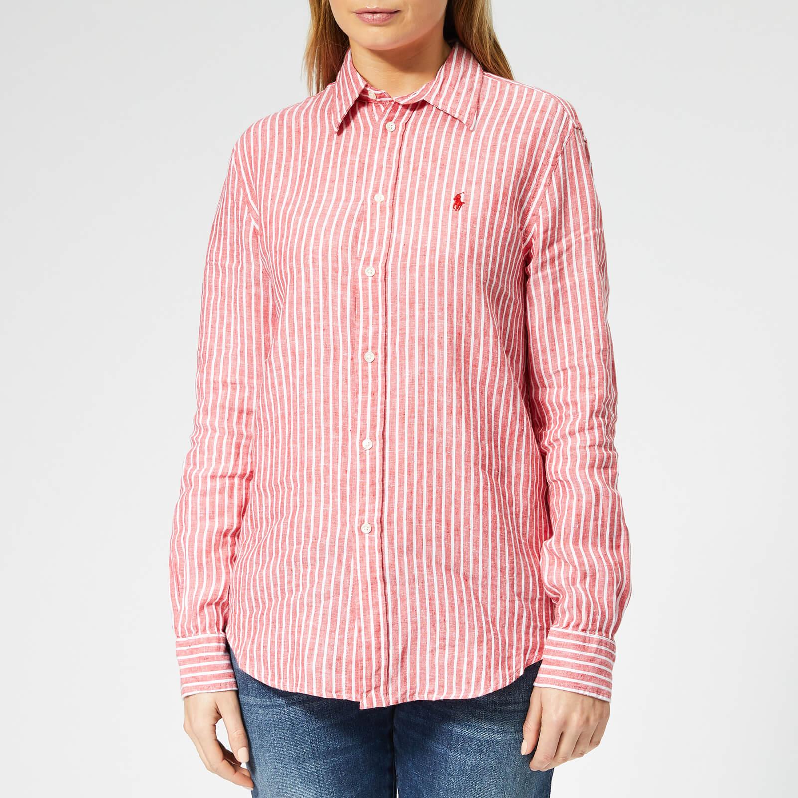 Ralph Polo Lauren Stripe Women's Shirt Redwhite Linen qUzpMGVS
