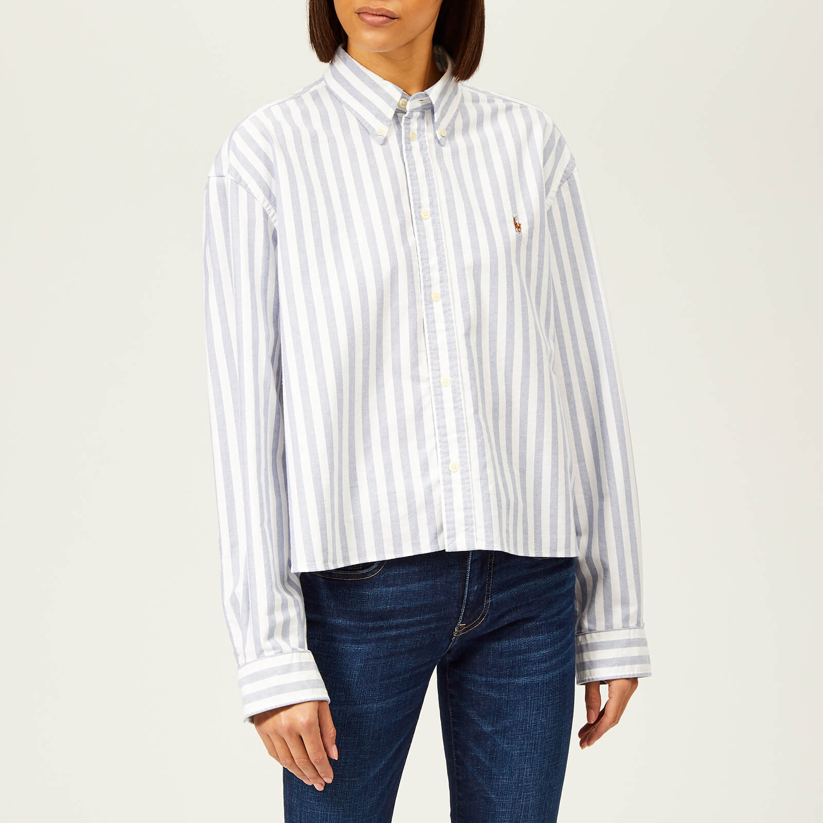 84da1b4e66 Polo Ralph Lauren Women's Cropped Oversized Cotton Oxford Shirt - White/Blue  - Free UK Delivery over £50