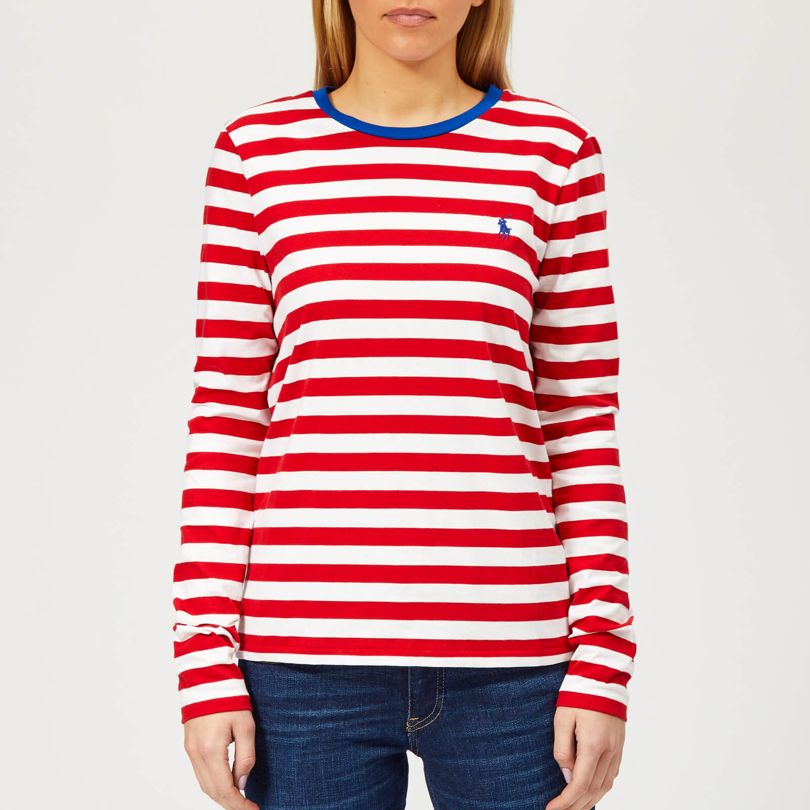 190210f55e Polo Ralph Lauren Women's PP Long Sleeve Stripe Crew Neck T-Shirt - Red/ White - Free UK Delivery over £50