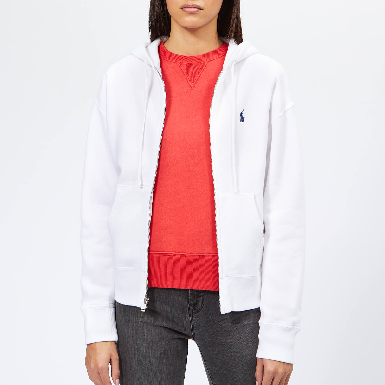 765a6490f Polo Ralph Lauren Women's Full Zip Hoodie - White - Free UK Delivery over  £50
