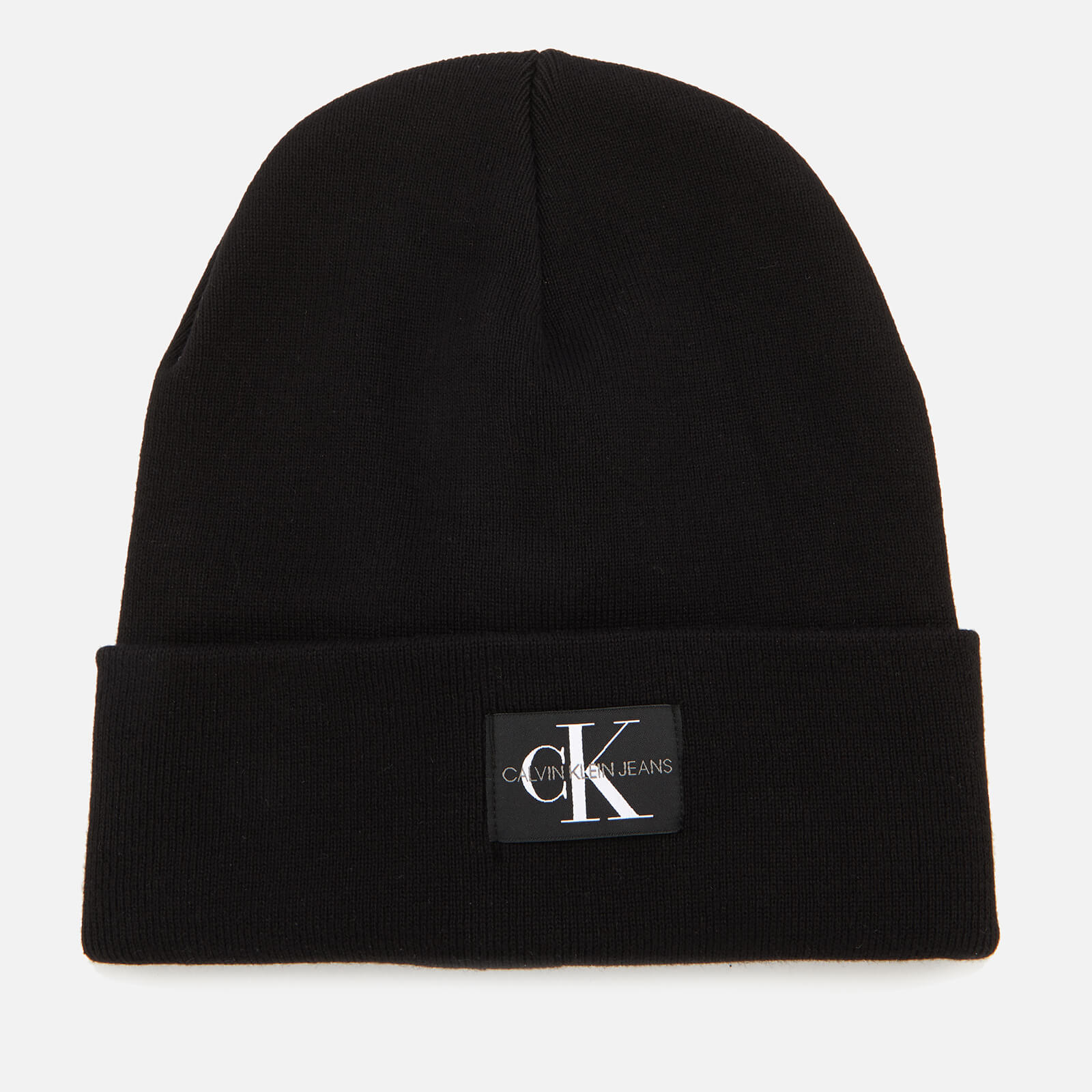 9e35a4d4f88 Calvin Klein Women s J Monogram Beanie Hat - Black Womens Accessories