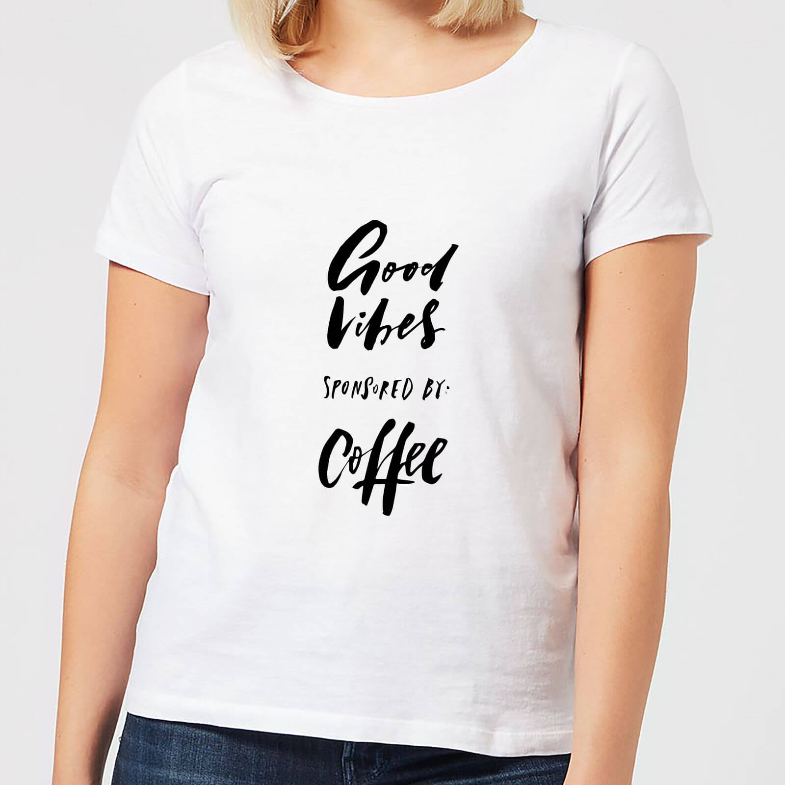 828a443ae Good Vibes Sponsored By Coffee Women's T-Shirt - White | IWOOT
