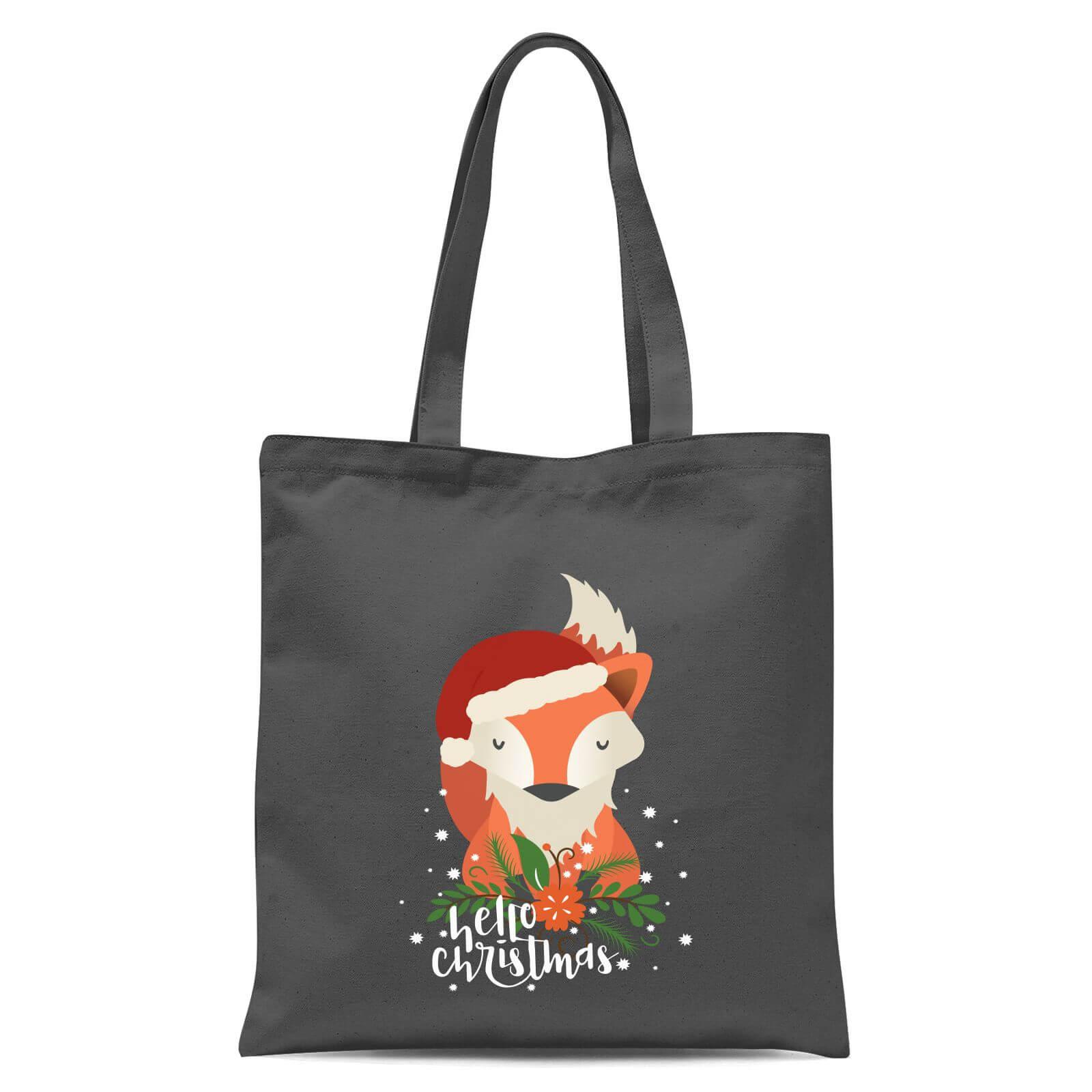 Christmas Fox O Tote Bag Grey