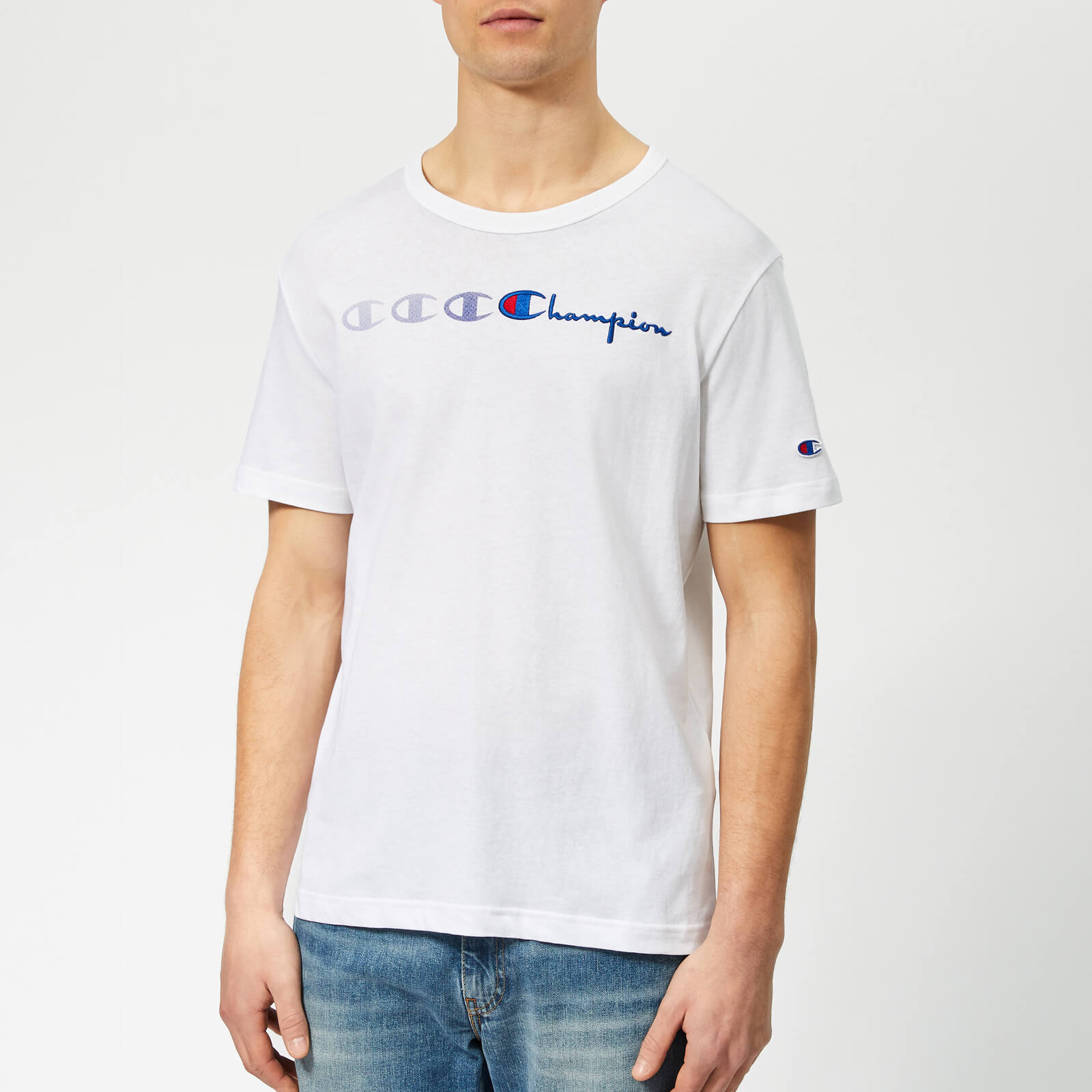 71b3d3b37ca7 Champion Men's Triple Logo T-Shirt - White - Free UK Delivery over £50