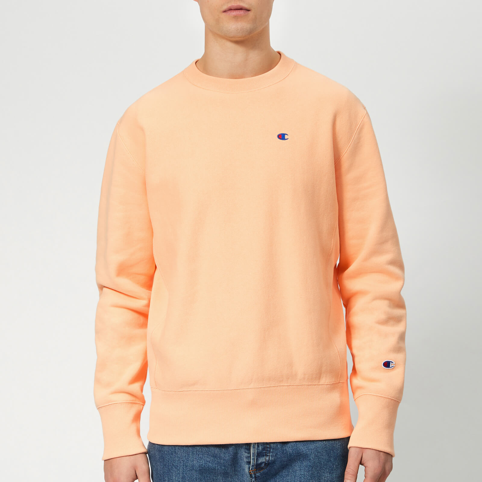 how to choose sells choose best Champion Men's Crew Neck Sweatshirt - Peach