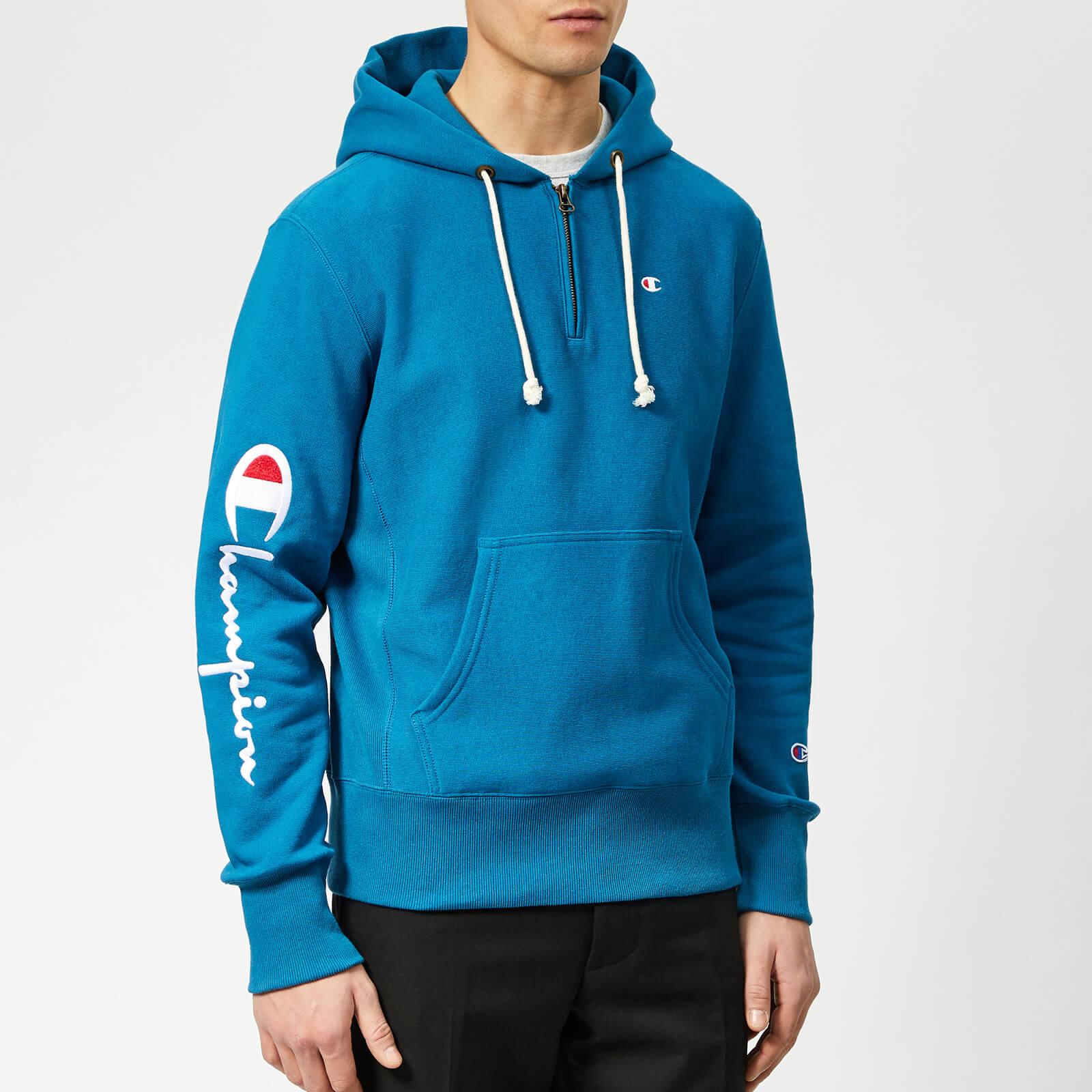 498da78f Champion Men's Half Zip Over Head Hoodie - Blue - Free UK Delivery over £50