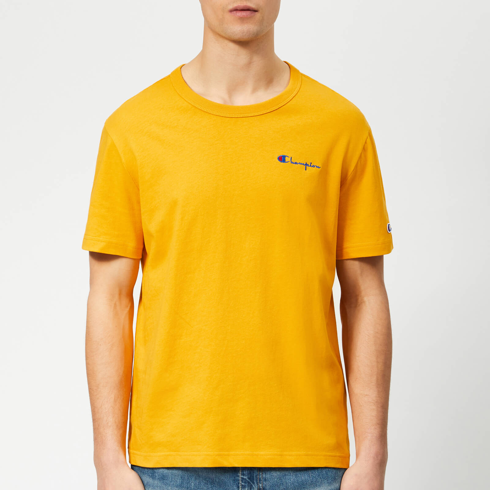 42855103 Champion Men's Small Script T-Shirt - Gold - Free UK Delivery over £50