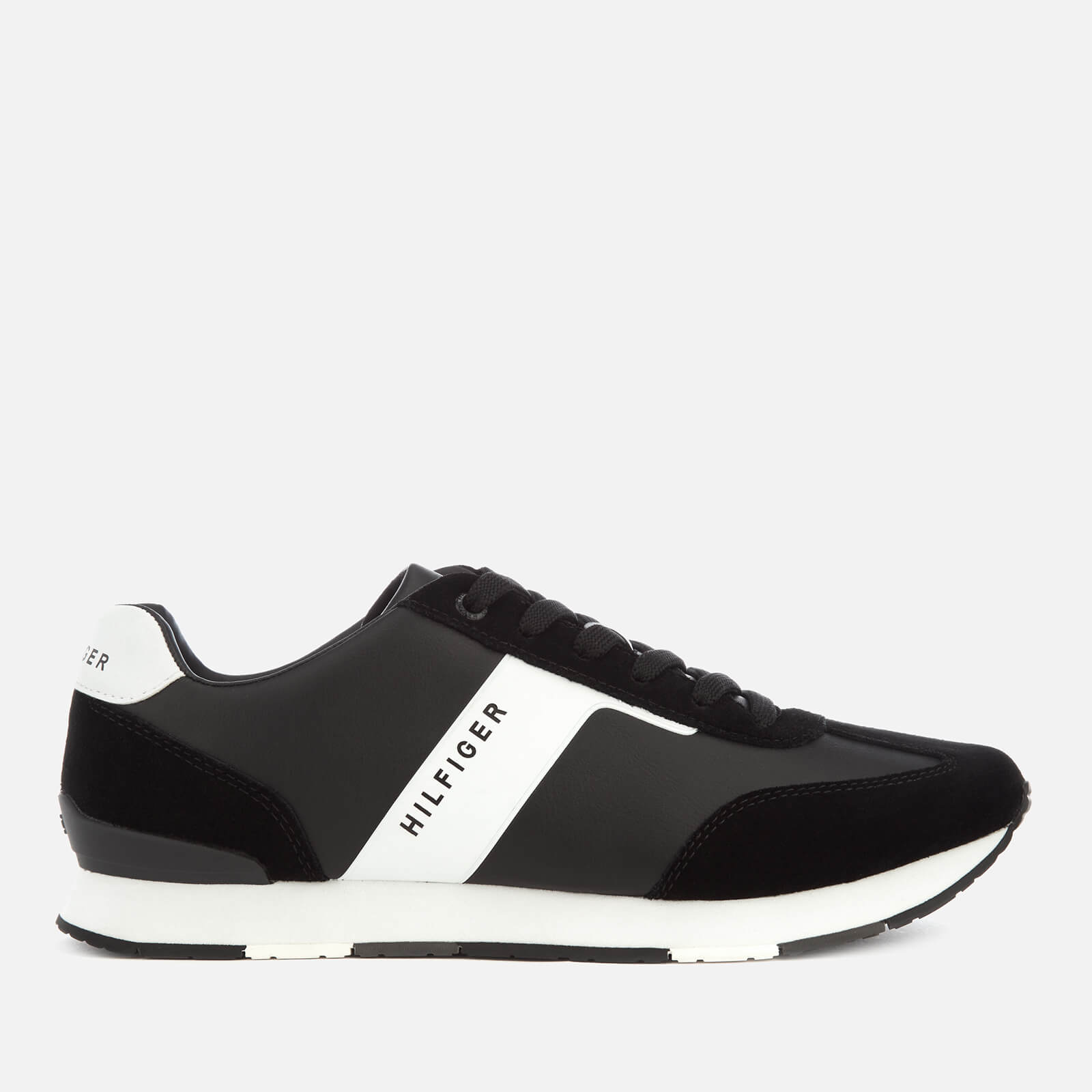 5b891c6ca Tommy Hilfiger Men s Leather Material Mix Runner Trainers - Black Mens  Footwear
