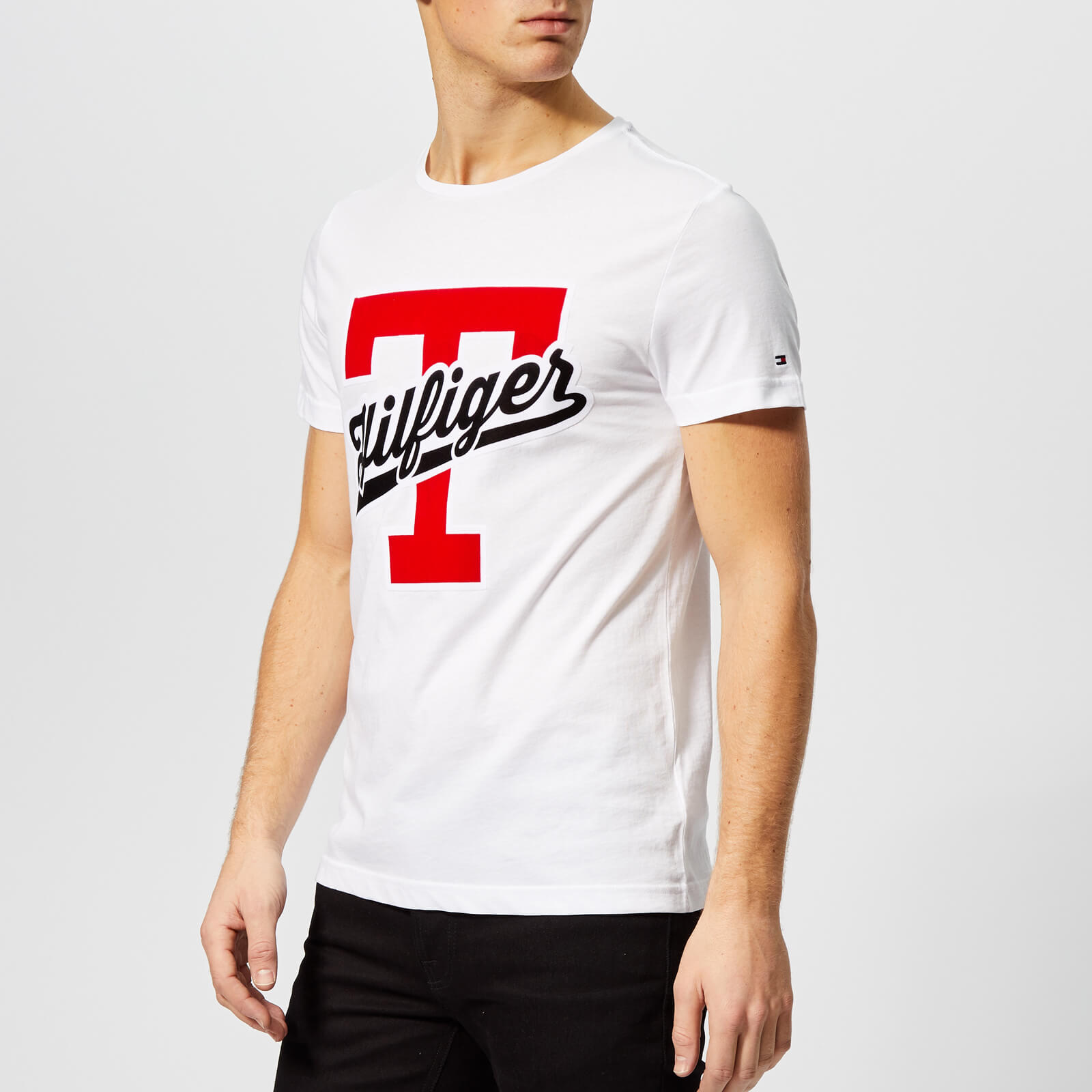 714806d2f Tommy Hilfiger Men's T-Script Logo T-Shirt - Bright White Clothing |  TheHut.com