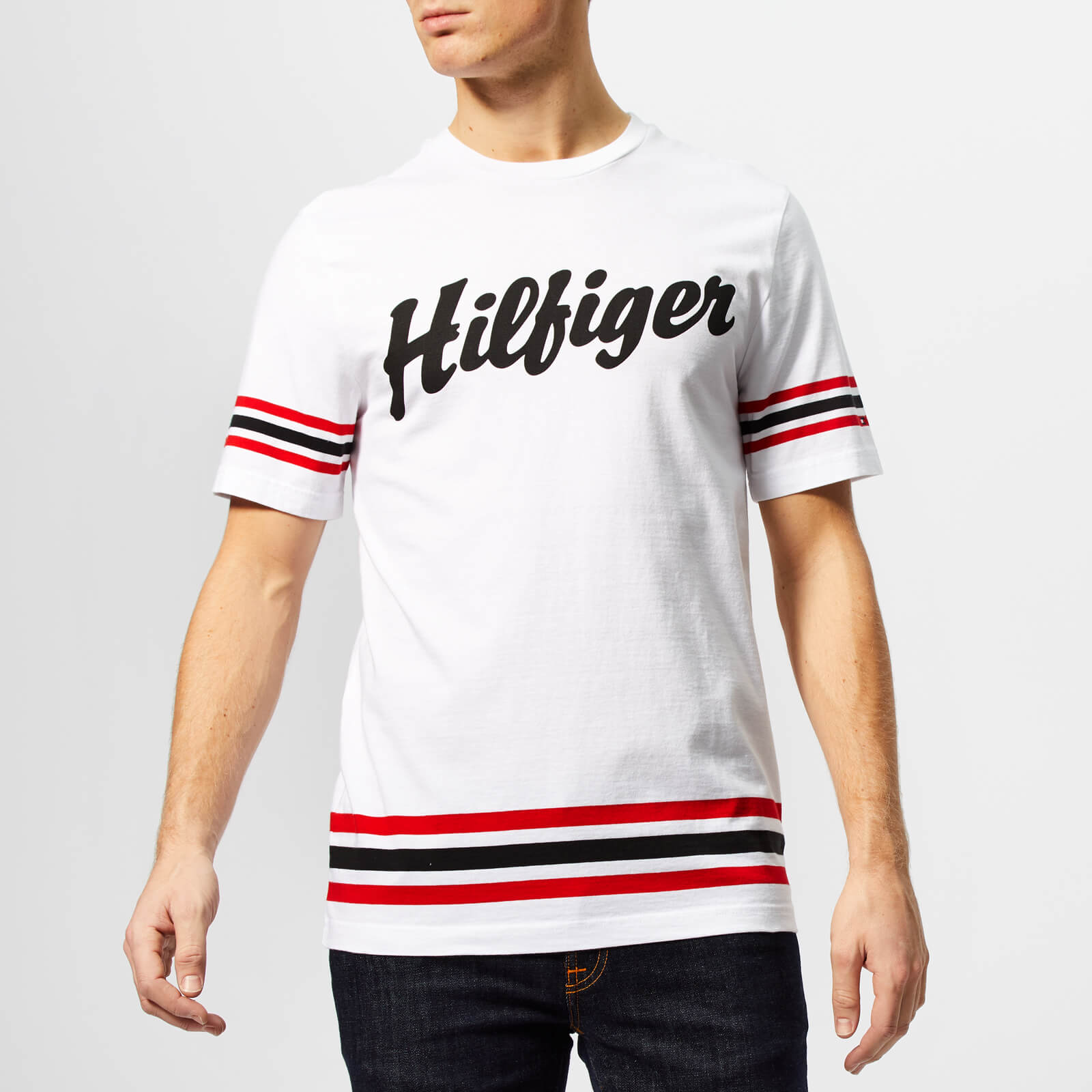 Tommy Hilfiger Mens Logo Script Relaxed Fit T Shirt White