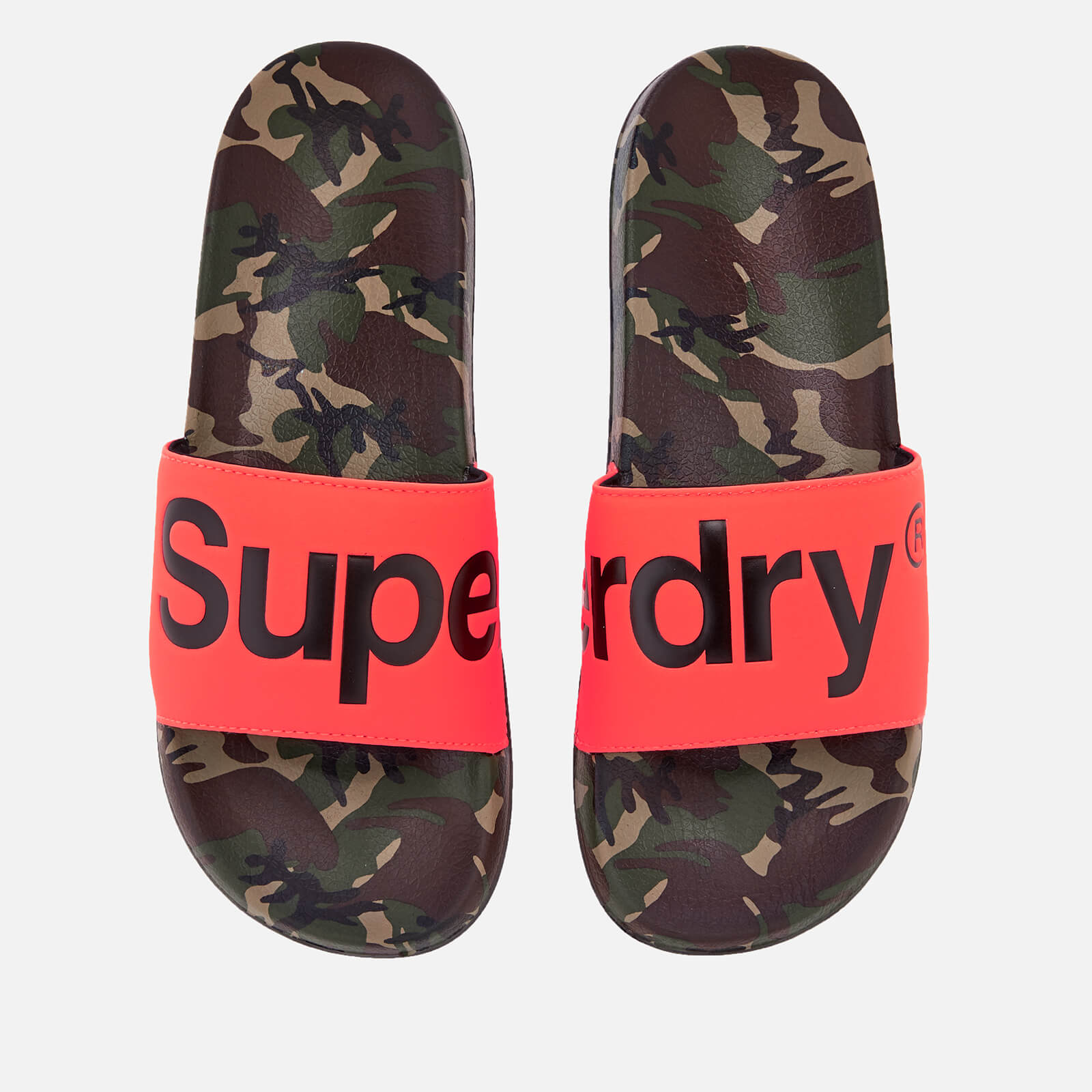e1a198aa4 Superdry Men's Beach Slide Sandals - Camo/Hazard Orange/Black | FREE UK  Delivery | Allsole