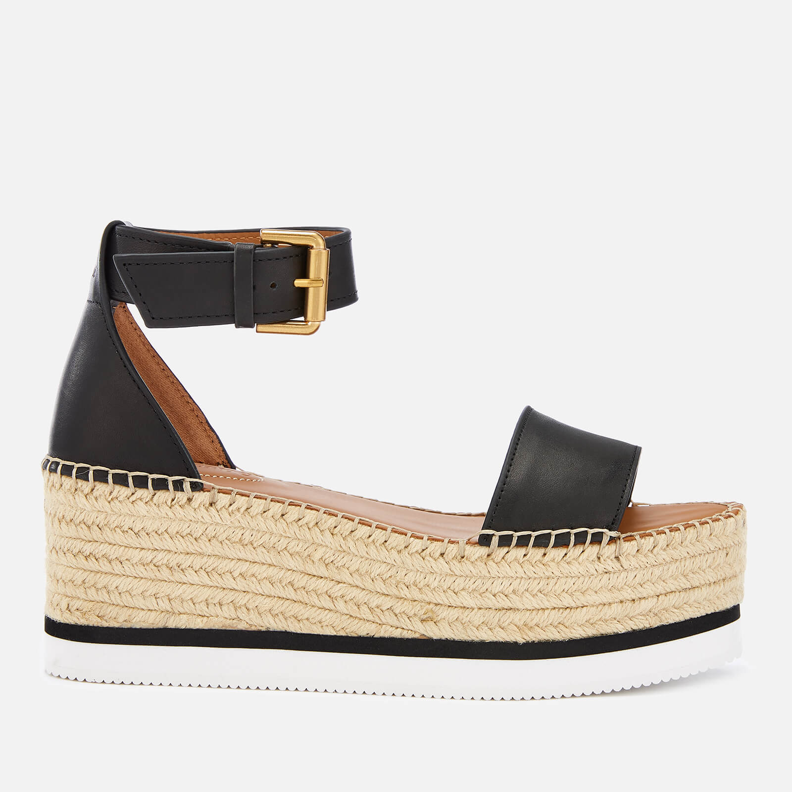 d357110c804 See By Chloé Women's Glyn Leather Espadrille Mid Wedge Sandals - Black