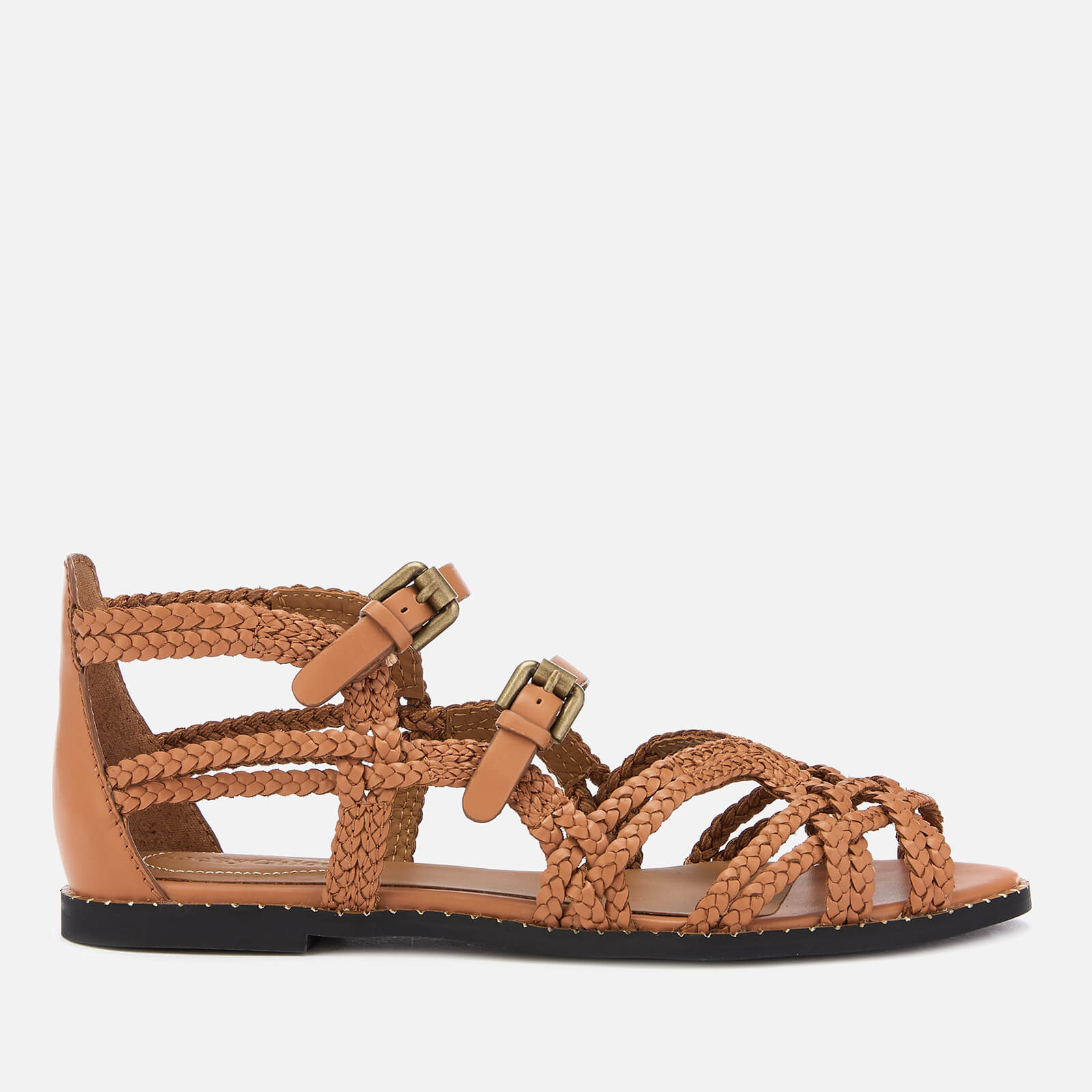 276c5164d9f See By Chloé Women s Katie Braided Leather Flat Sandals - Sierra ...