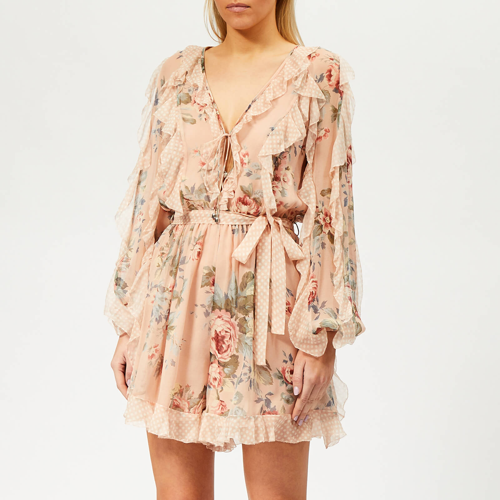 11b24e1993f Zimmermann Women s Bowie Frill Playsuit - Peach Floral - Free UK Delivery  over £50