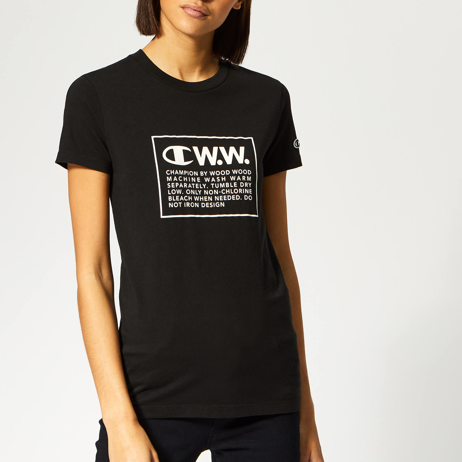 b3e158c0 Champion X WOOD WOOD Women's Lyn Crew Neck T-Shirt - Black - Free UK  Delivery over £50