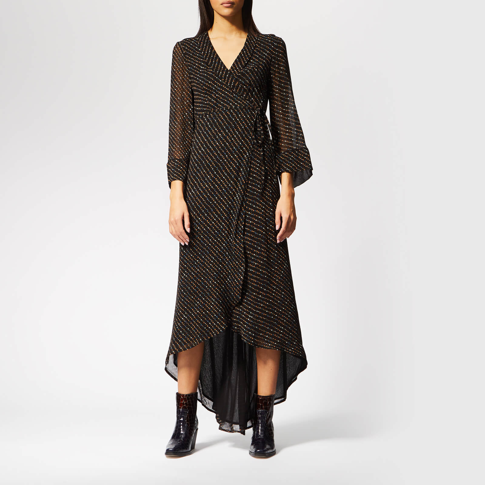 best supplier 50% price best cheap Ganni Women's Mullin Georgette Wrap Dress - Black