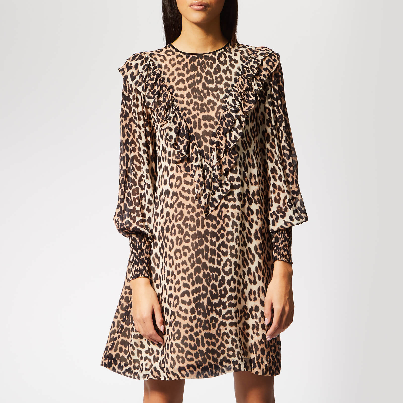 d034904e Ganni Women's Mullin Georgette Mini Dress - Leopard - Free UK Delivery over  £50
