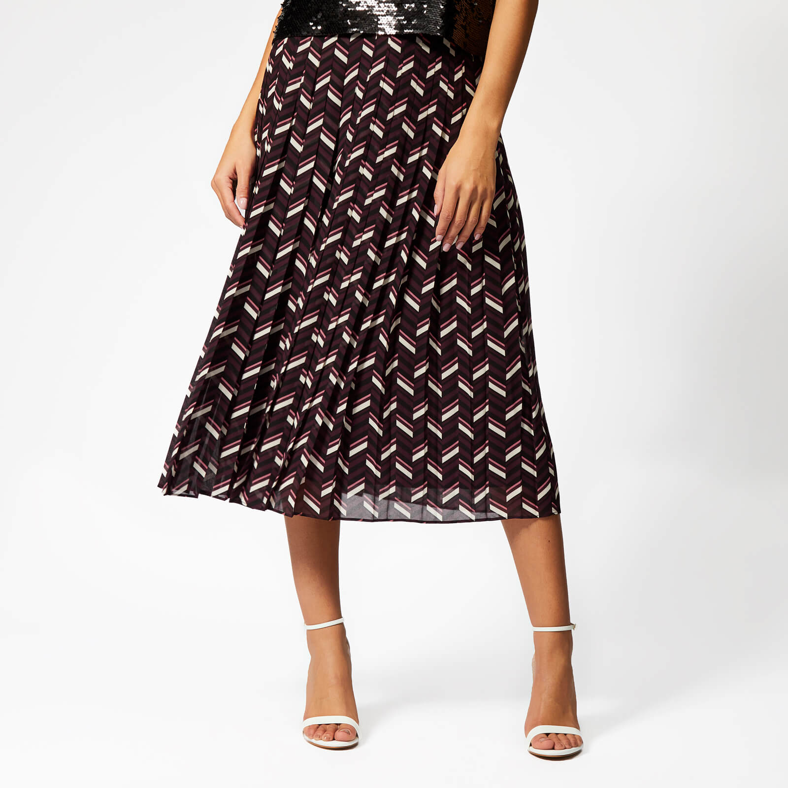 e3ce7021 MICHAEL MICHAEL KORS Women's Chevron Pleat Skirt - Cordovan - Free UK  Delivery over £50