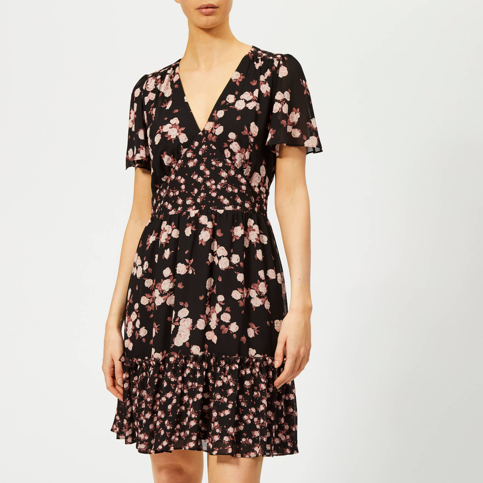 f4acd7db9b8 MICHAEL MICHAEL KORS Women s Rose Print Mix Dress - Black Dusty Rose Womens  Clothing