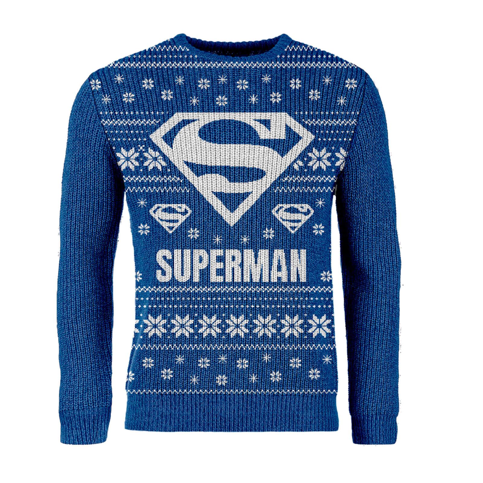 Gebreide Kersttrui.Zavvi Exclusive Superman Gebreide Kersttrui Blauw Zavvi Nl
