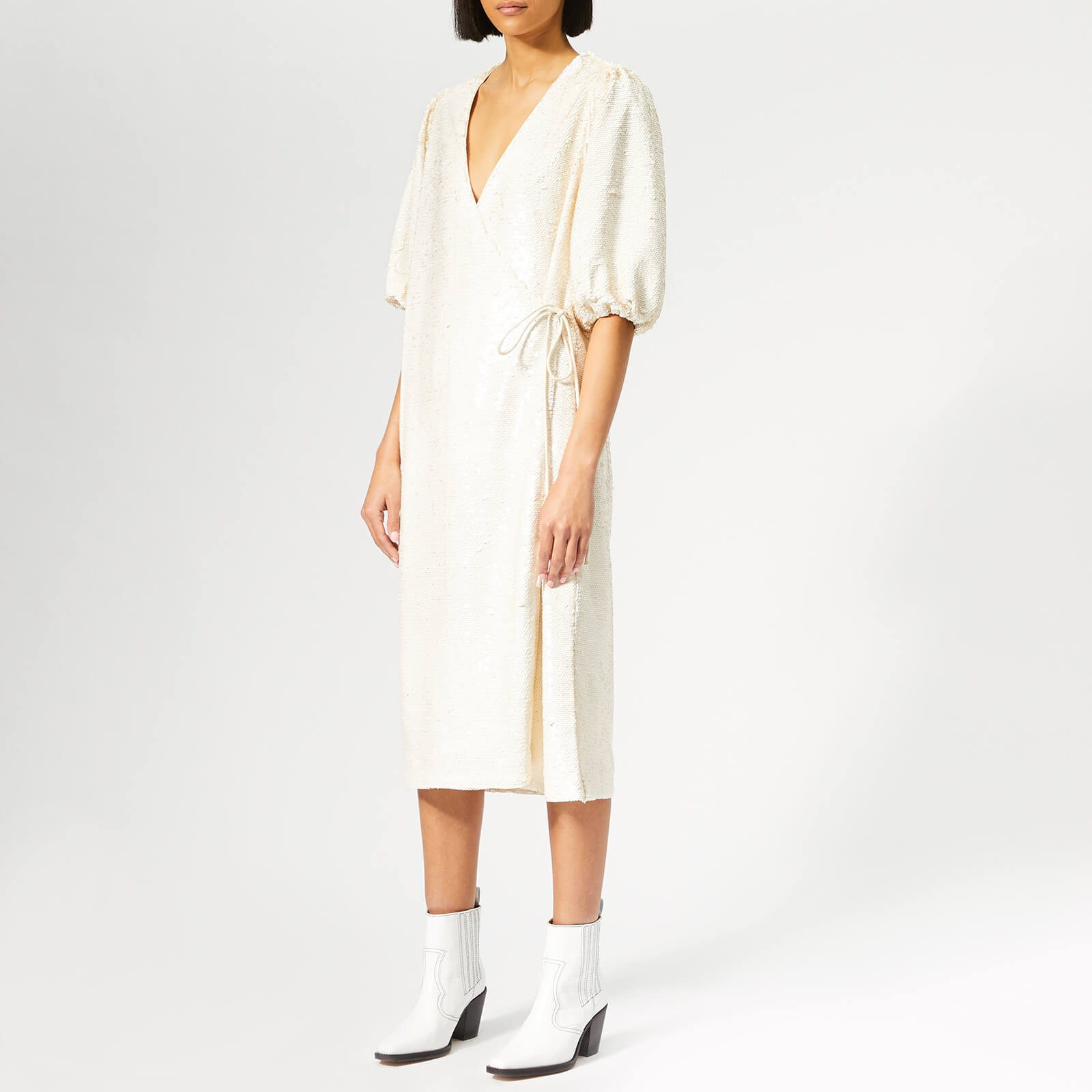 415bf9bed09 Ganni Women s Sonora Midi Dress - Egret - Free UK Delivery over £50