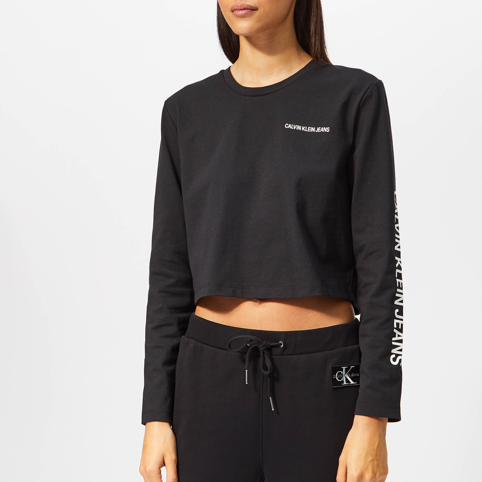 c7ca5d67 ... Calvin Klein Jeans Women's Long Sleeve Cropped T-Shirt - Black