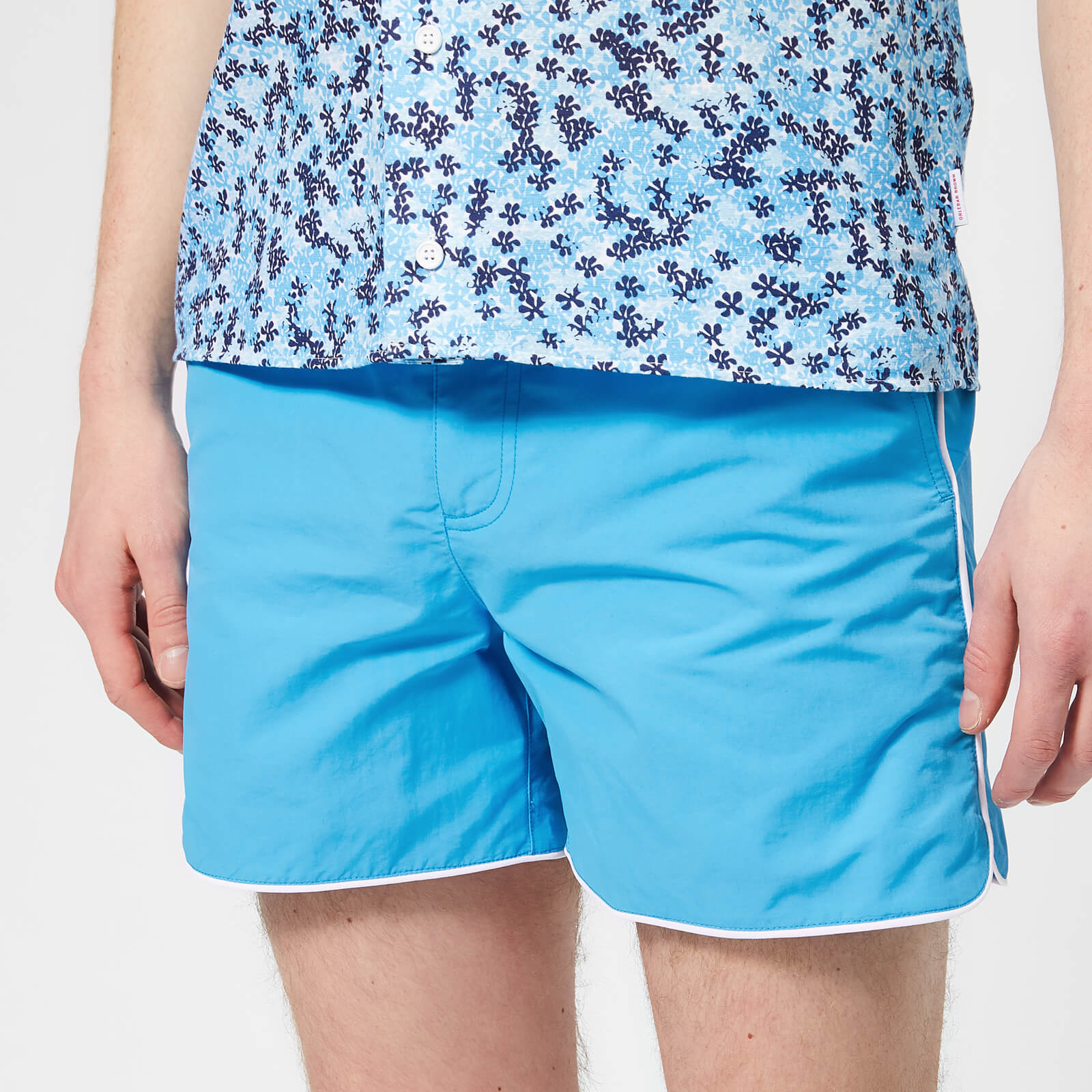 5c799c1e15 Orlebar Brown Men's Setter Piping Swim Shorts - Bahama Blue/White - Free UK  Delivery over £50