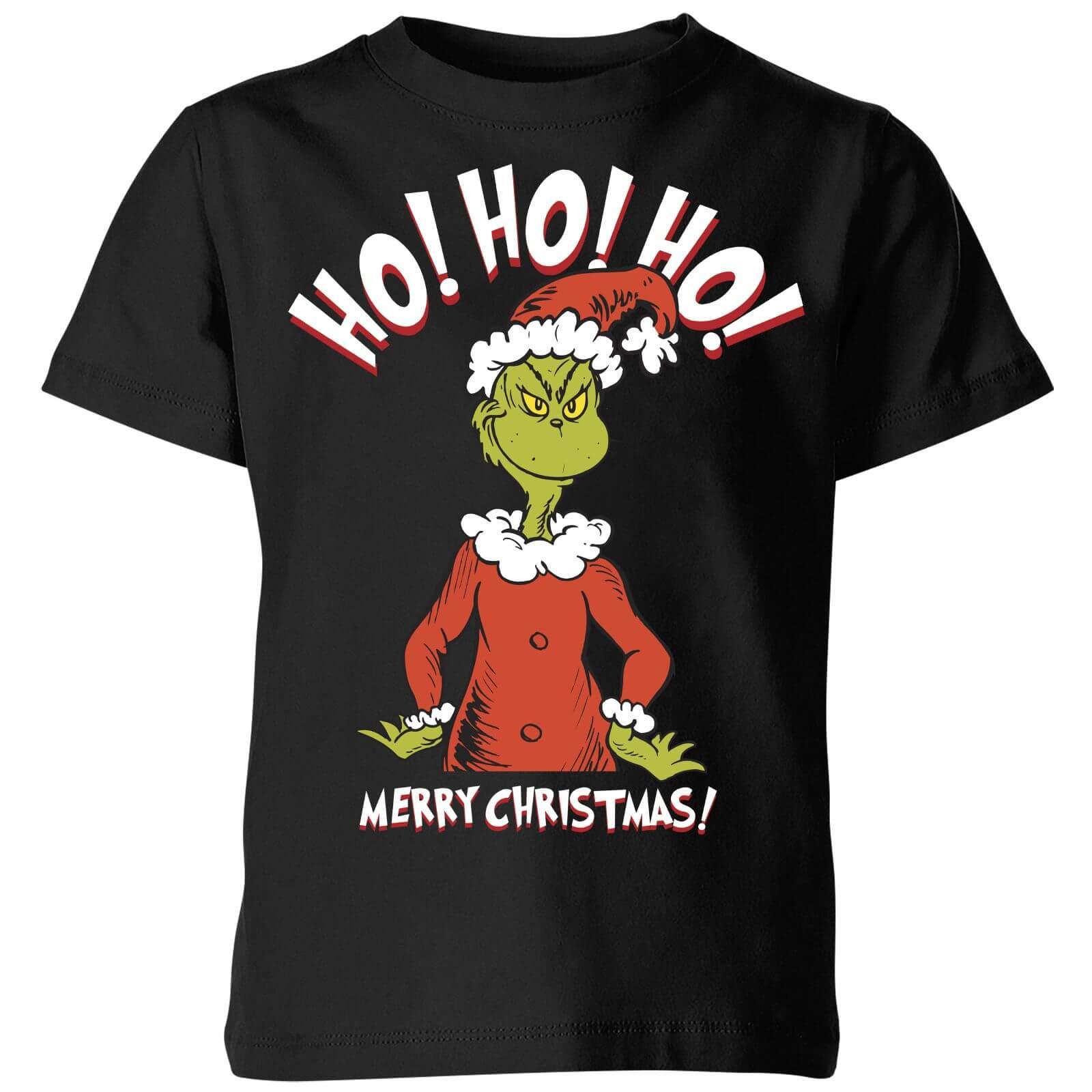 The Grinch Ho Ho Ho Smile Kids Christmas T-Shirt - Black   IWOOT