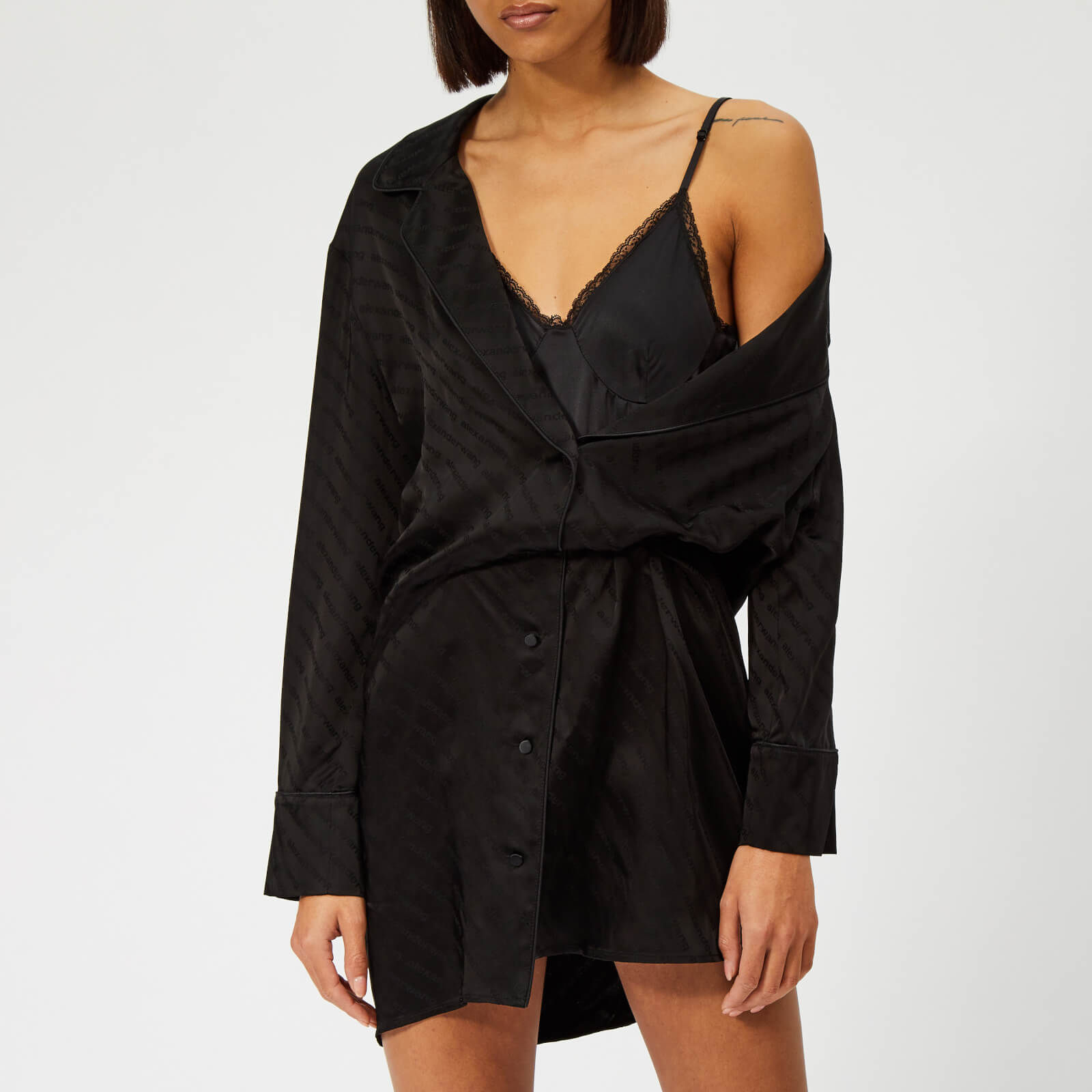 035400dcdc9 Alexander Wang Women s Shirt Dress with Exposed Lace Cami - Black ...