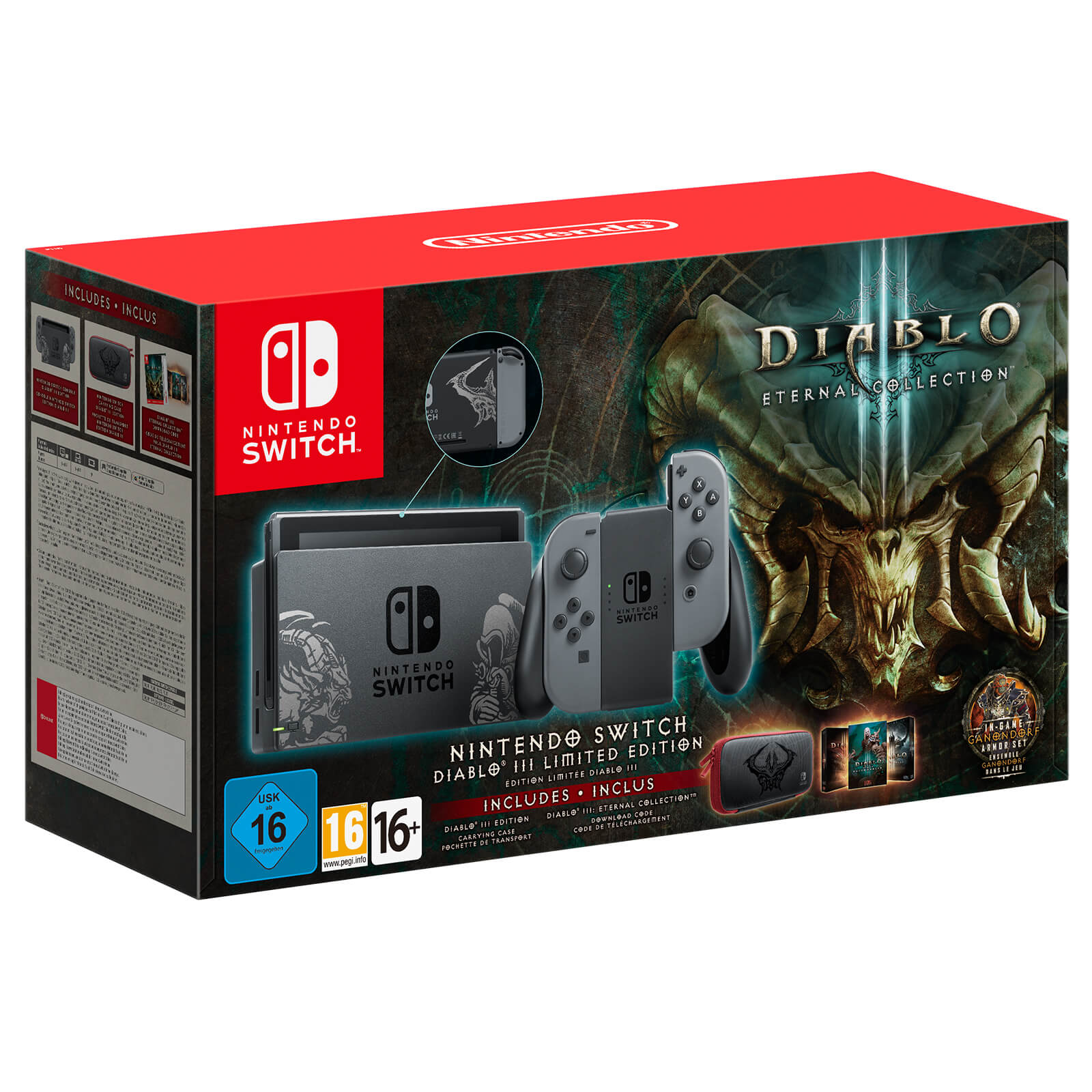 Nintendo Switch Diablo Iii Limited Edition Bundle Joy Con Controllers Grey Console Dock Which Holds The Main And Connects It To A Tv Decorated With Artwork From