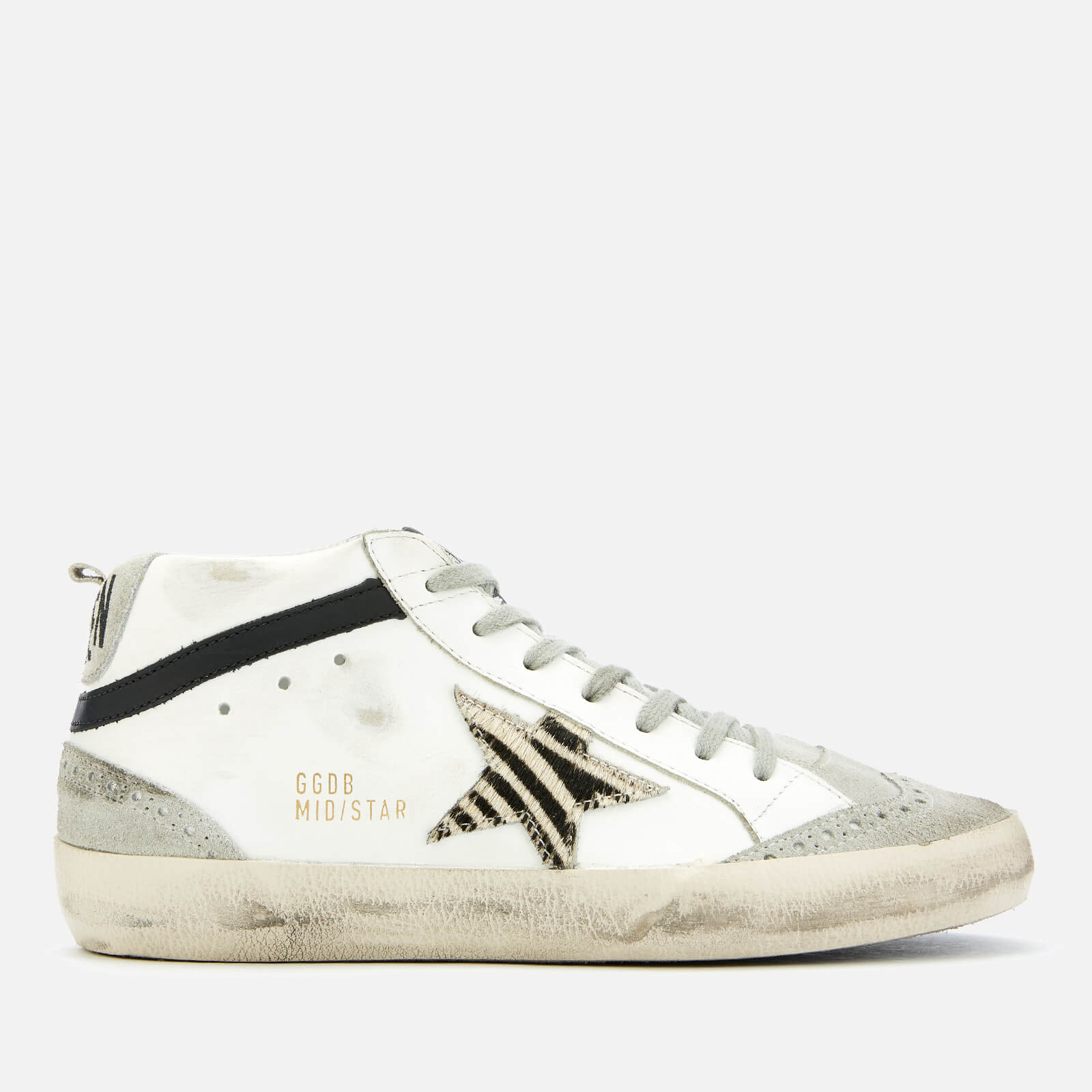 e0a6d2102497 Golden Goose Deluxe Brand Women s Mid Star Leather Trainers - White Zebra  Star - Free UK Delivery over £50