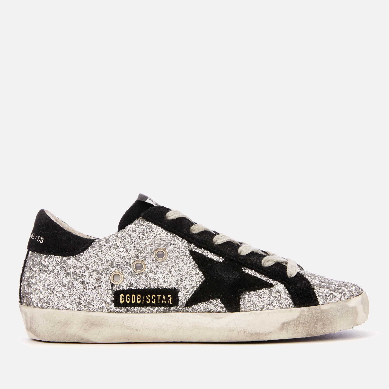64c2f7a21f7e Golden Goose Deluxe Brand Women s Superstar Leather Trainers - Silver  Glitter Black Star - Free UK Delivery over £50