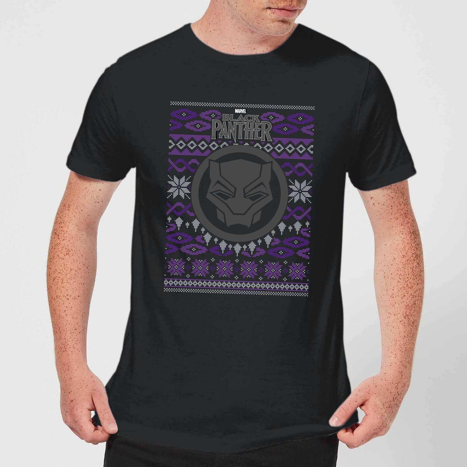 84c223b5 Marvel Avengers Black Panther Men's Christmas T-Shirt - Black Clothing |  Zavvi