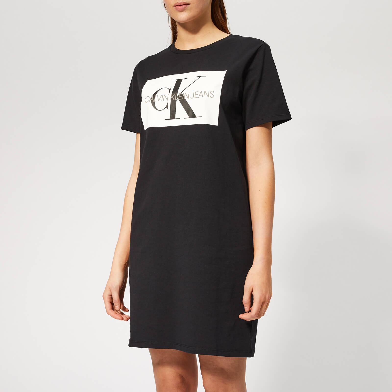 b8c8bcfe840 Calvin Klein Jeans Women s Iconic Monogram Box T-Shirt Dress - CK Black  Womens Clothing