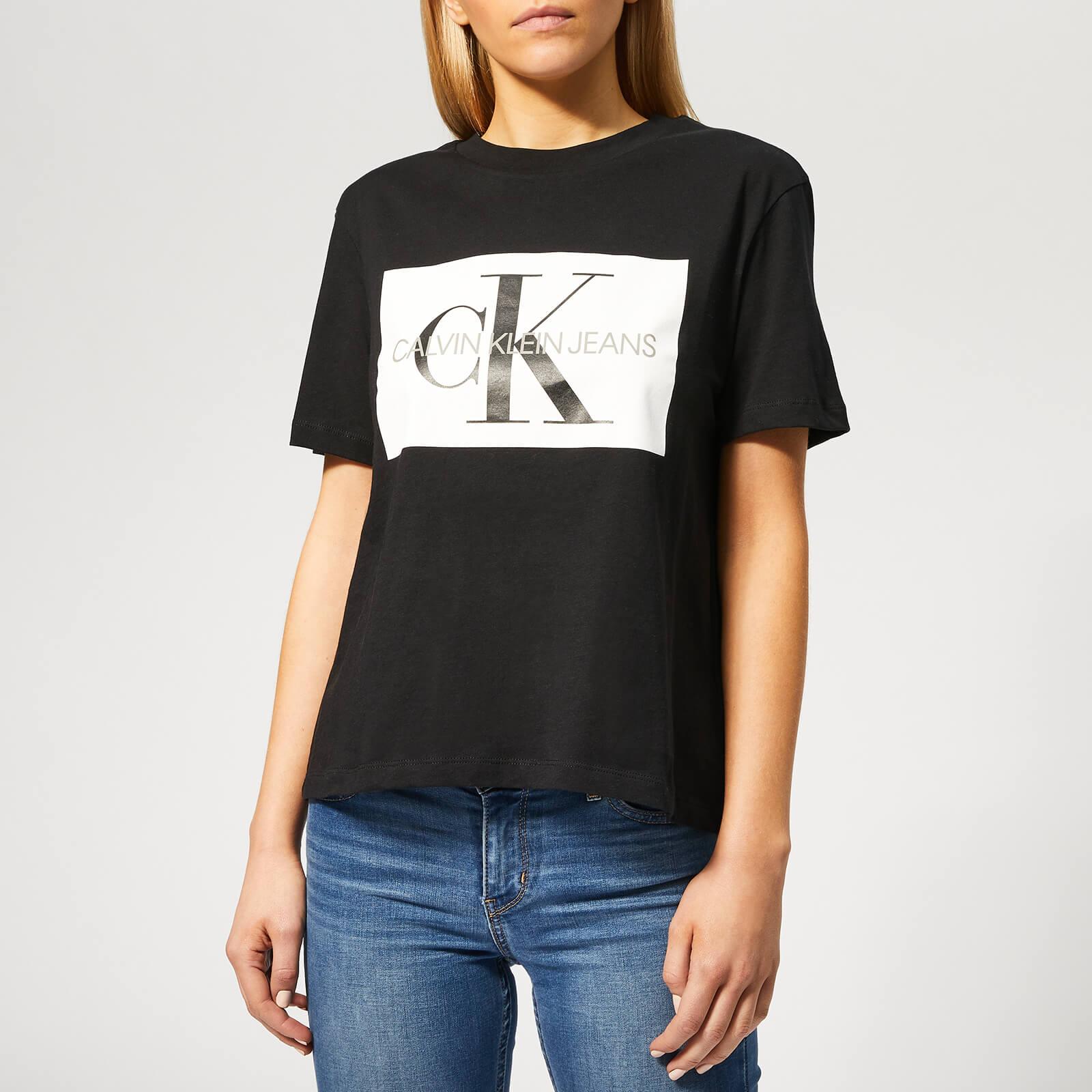 1101b5775b0c Calvin Klein Jeans Women's Iconic Monogram Box Straight T-Shirt - CK Black/White  Womens Clothing   TheHut.com