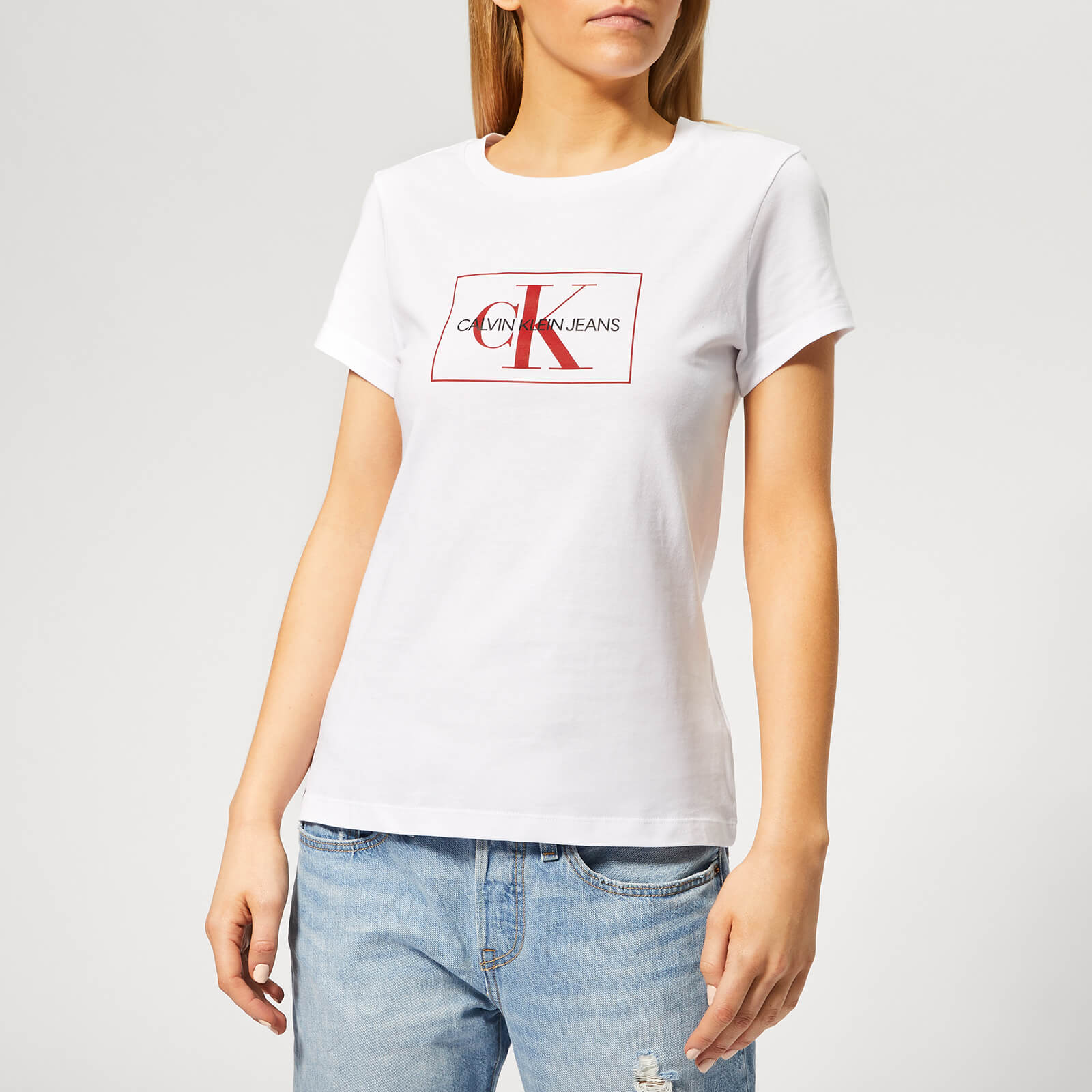 e815b016 Calvin Klein Jeans Women's Outline Monogram Slim Fit T-Shirt - Bright White/Racing  Red Womens Clothing | TheHut.com