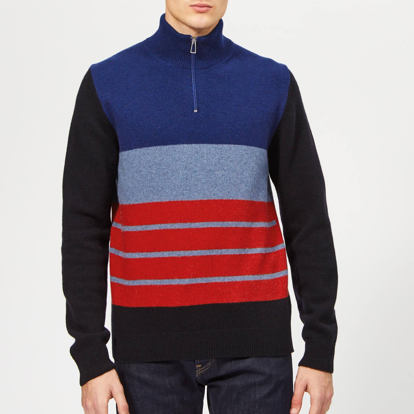 9fd858687be PS Paul Smith Men's Zip Neck Sweatshirt - Grey Blue - Free UK Delivery over  £50
