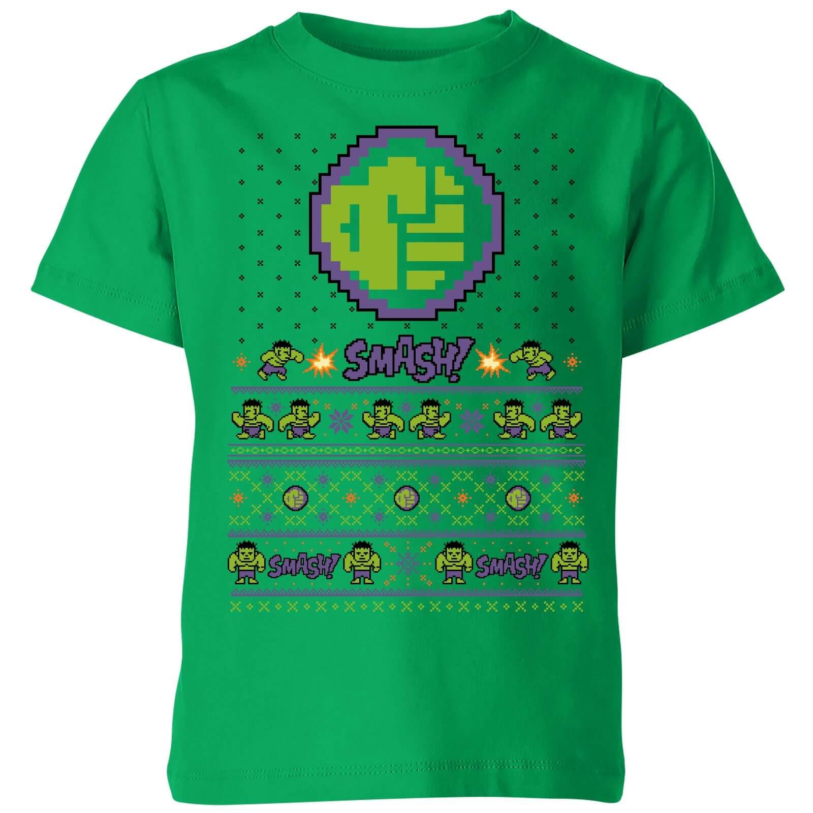 c7c5d713 Marvel Avengers Hulk Smash! Pixel Art Kids Christmas T-Shirt - Kelly Green
