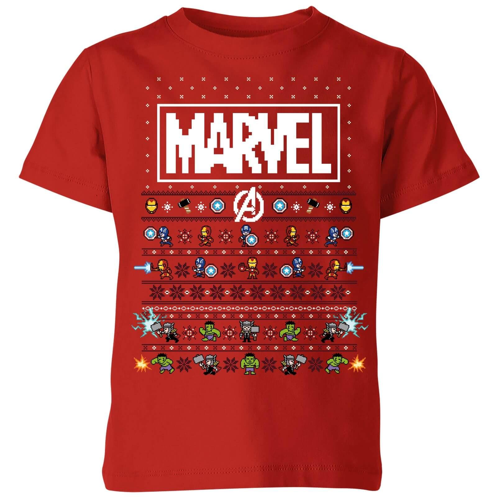 55df7cb6 Marvel Avengers Pixel Art Kids Christmas T-Shirt - Red